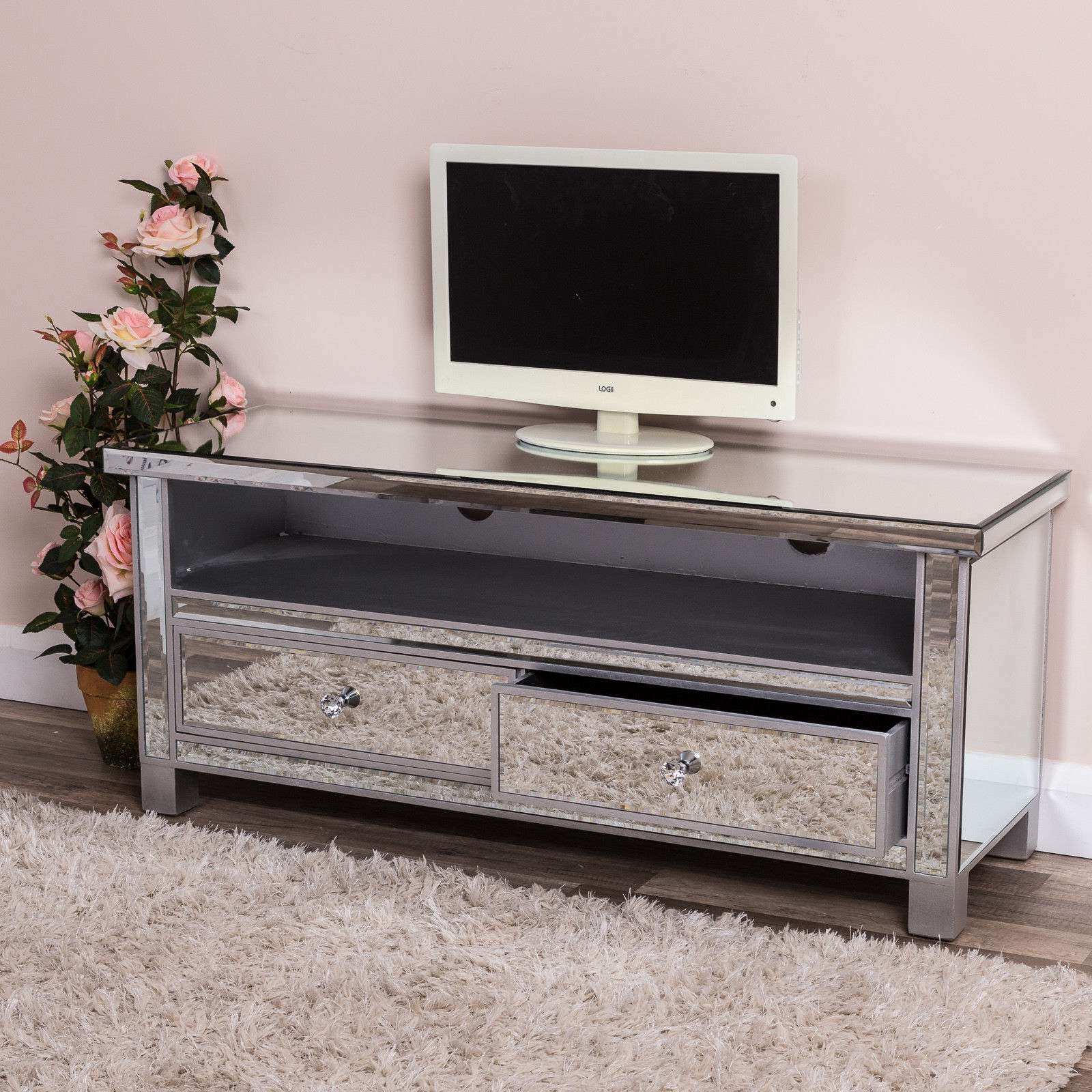 Silver Tv Stands With Widely Used Silver Tv Stands Stand Home Design Ideas – Carolinacarconnections (Gallery 8 of 20)