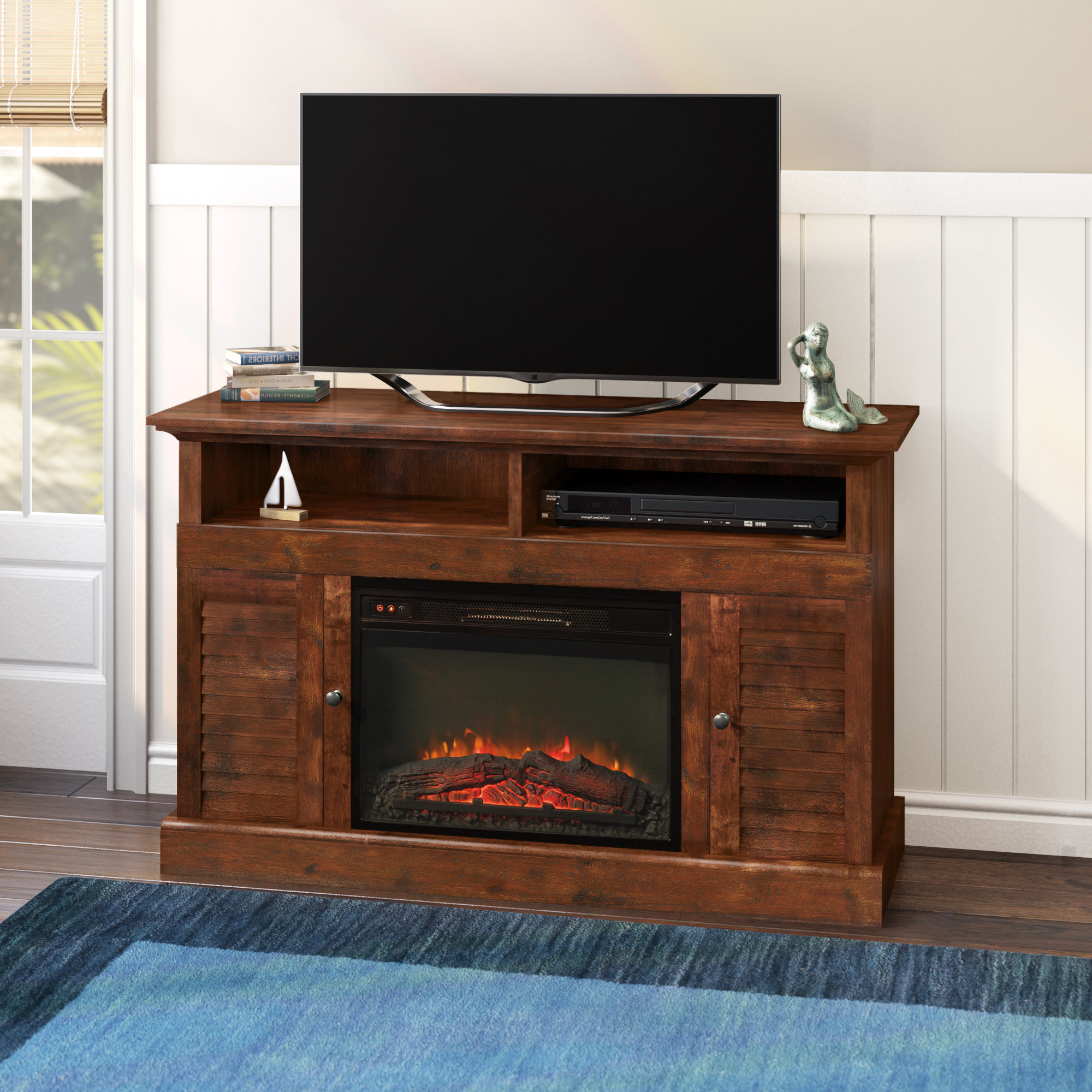 Sinclair Blue 54 Inch Tv Stands Intended For Most Current 60 69 Inch Tv Stand Fireplaces You'll Love (View 14 of 20)