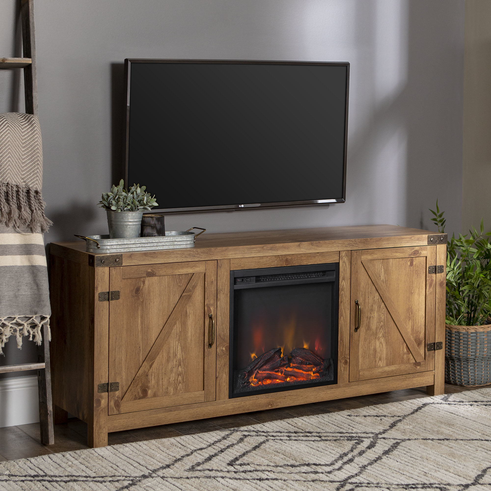 Sinclair Grey 54 Inch Tv Stands For Most Up To Date 60 69 Inch Tv Stand Fireplaces You'll Love (View 16 of 20)
