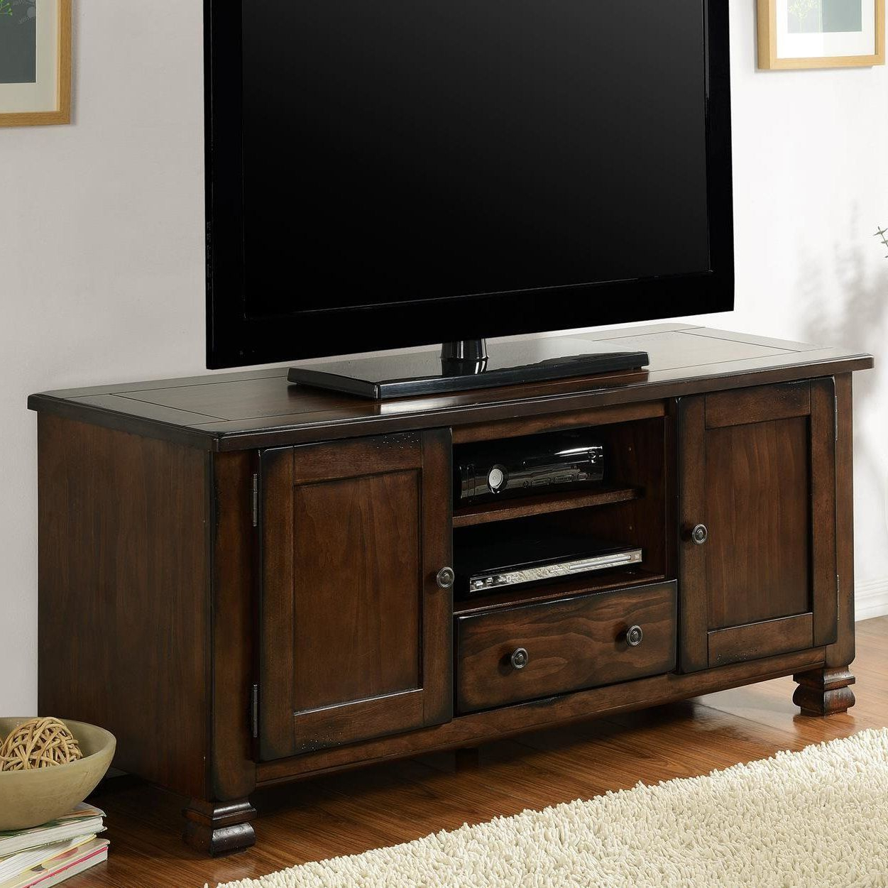 "Sinclair Grey 54 Inch Tv Stands With Most Up To Date Brackenridge 54"" Tv Stand #tvstandideasforlivingroom (View 17 of 20)"