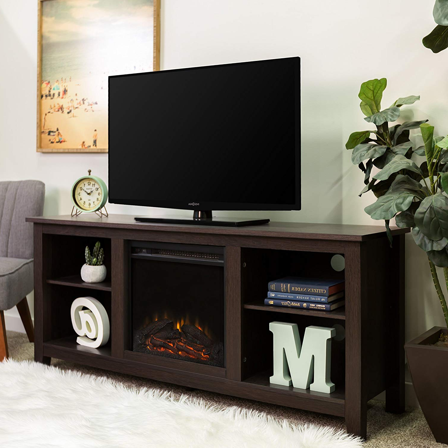 Sinclair Grey 68 Inch Tv Stands In Well Known Amazon: Walker Edison W58Fp18Es Fireplace Tv Stand, Espresso, 58 (Gallery 10 of 20)