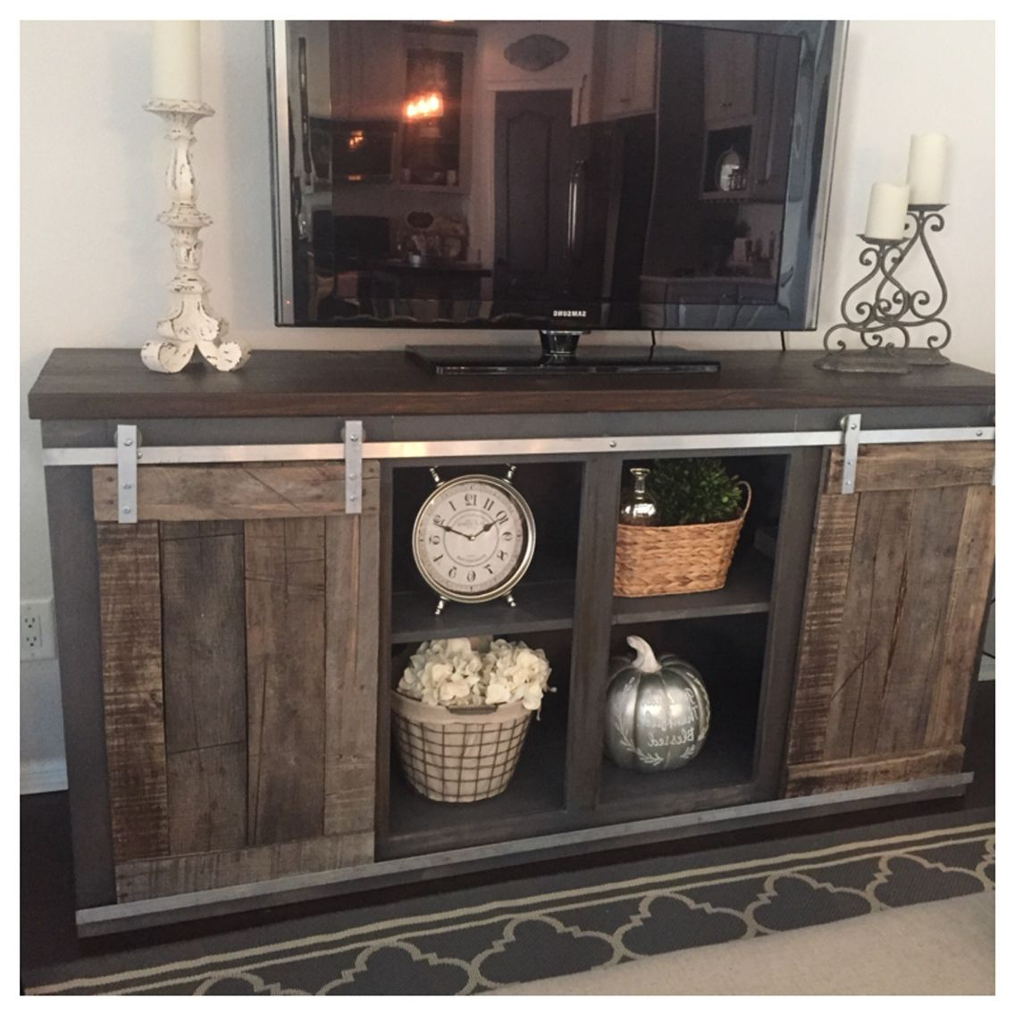 Sliding Barn Door Tv Stand White Rustic With Mount Farmhouse Plans Intended For 2017 White Rustic Tv Stands (View 18 of 20)
