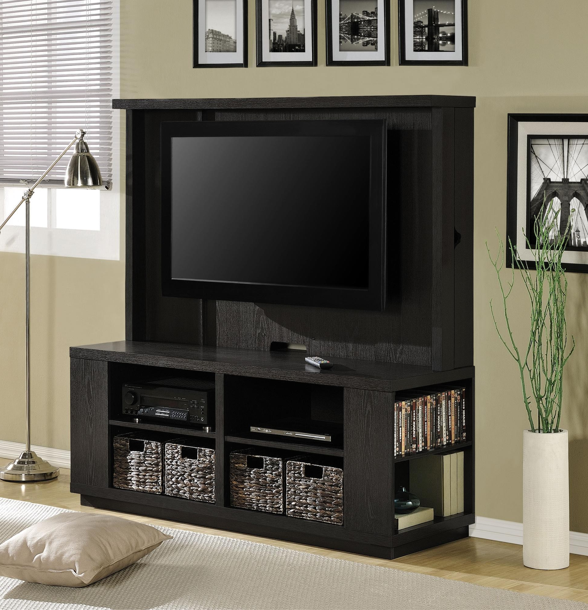 Small Black Wall Mounted Tv Stand With Storage Shelves Plus Woven Intended For Most Recently Released Tv Stands With Storage Baskets (Gallery 2 of 20)