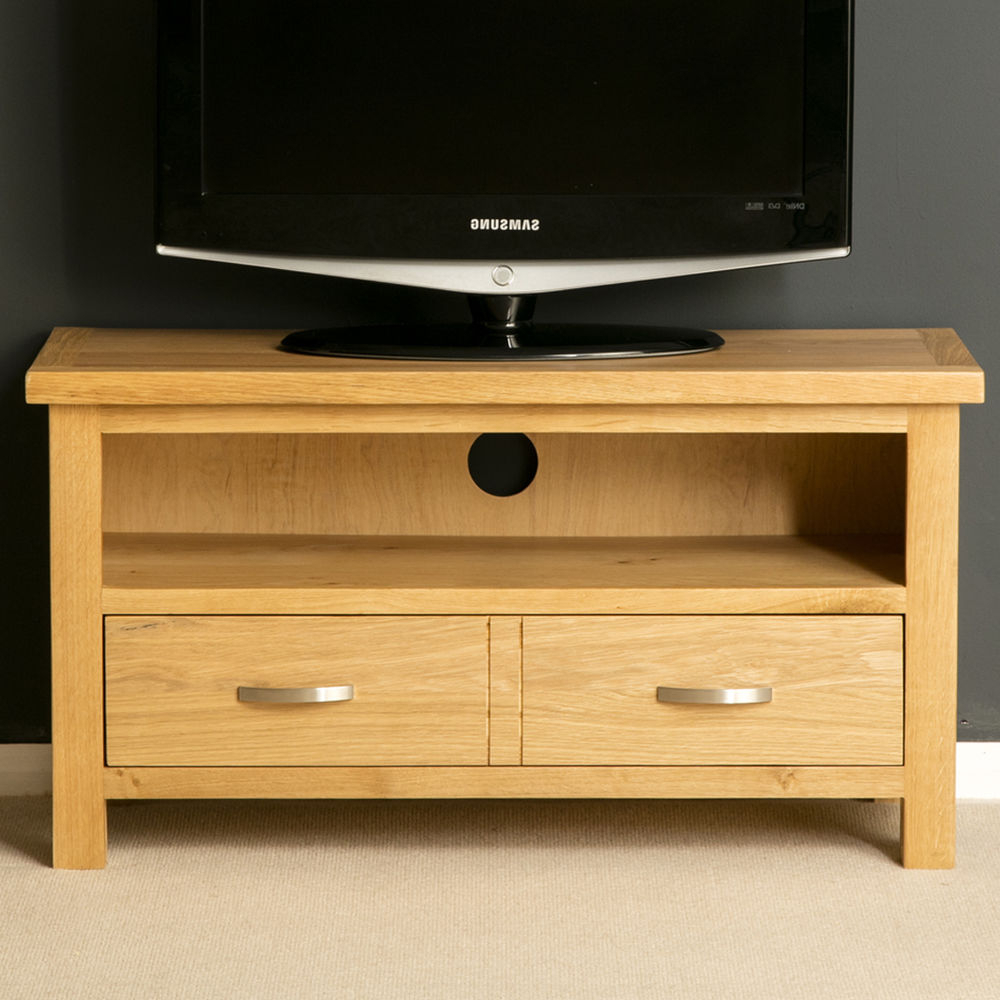 Small Oak Tv Cabinets Intended For Famous London Oak Small Tv Stand / Light Oak Tv Unit / Solid Wood Tv (Gallery 14 of 20)