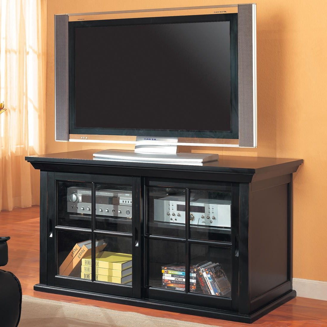 Small Tv Cabinet With Glass Tv Cabinet With Glass Doors Bathroom Within Most Recently Released Black Tv Stand With Glass Doors (Gallery 3 of 20)