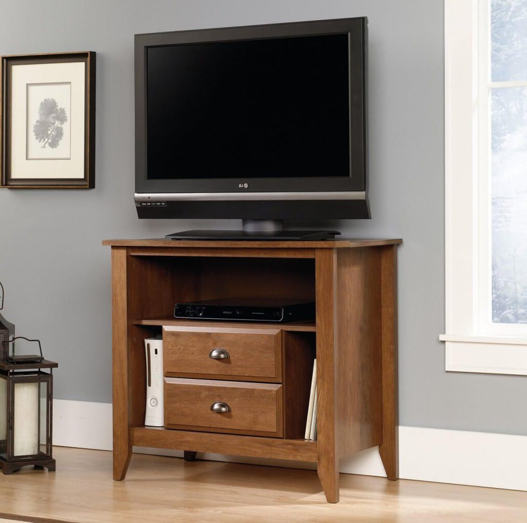 Small Tv Stands With Regard To Well Liked Furniture: Sturdy Walnut Finish Small Tv Stands For Bedroom (Gallery 20 of 20)