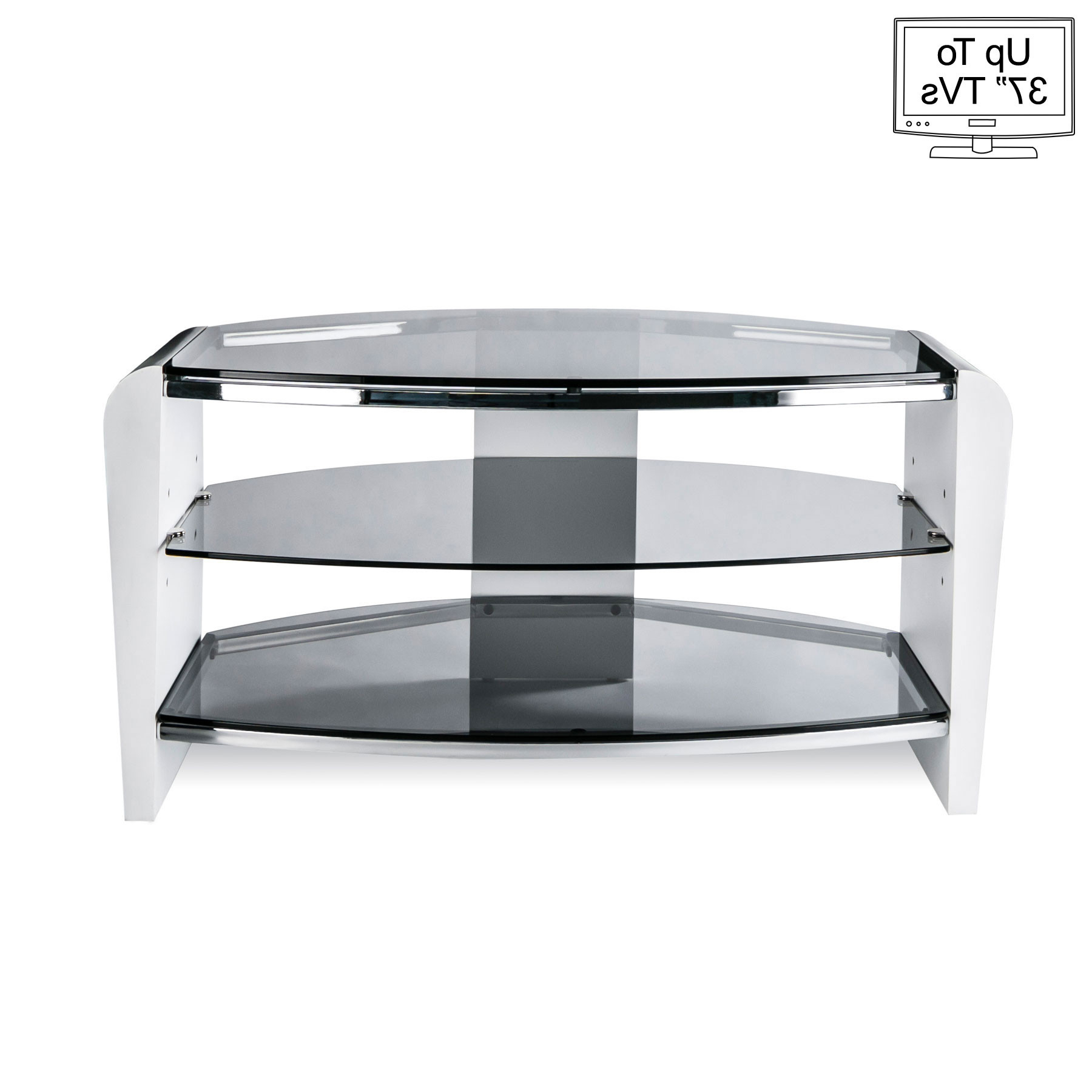 "Smoked Glass Tv Stands Intended For Current Alphason Francium 80Cm Smoked Glass Tv Stand For Up To 37"" Tvs (View 17 of 20)"