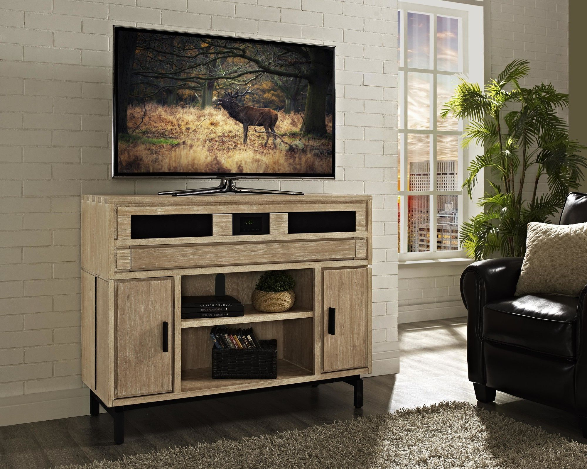 """Soho Tv Cabinets Within Best And Newest Soho 48"""" Deluxe Tv Stand With Built In Surround Sound (Gallery 4 of 20)"""