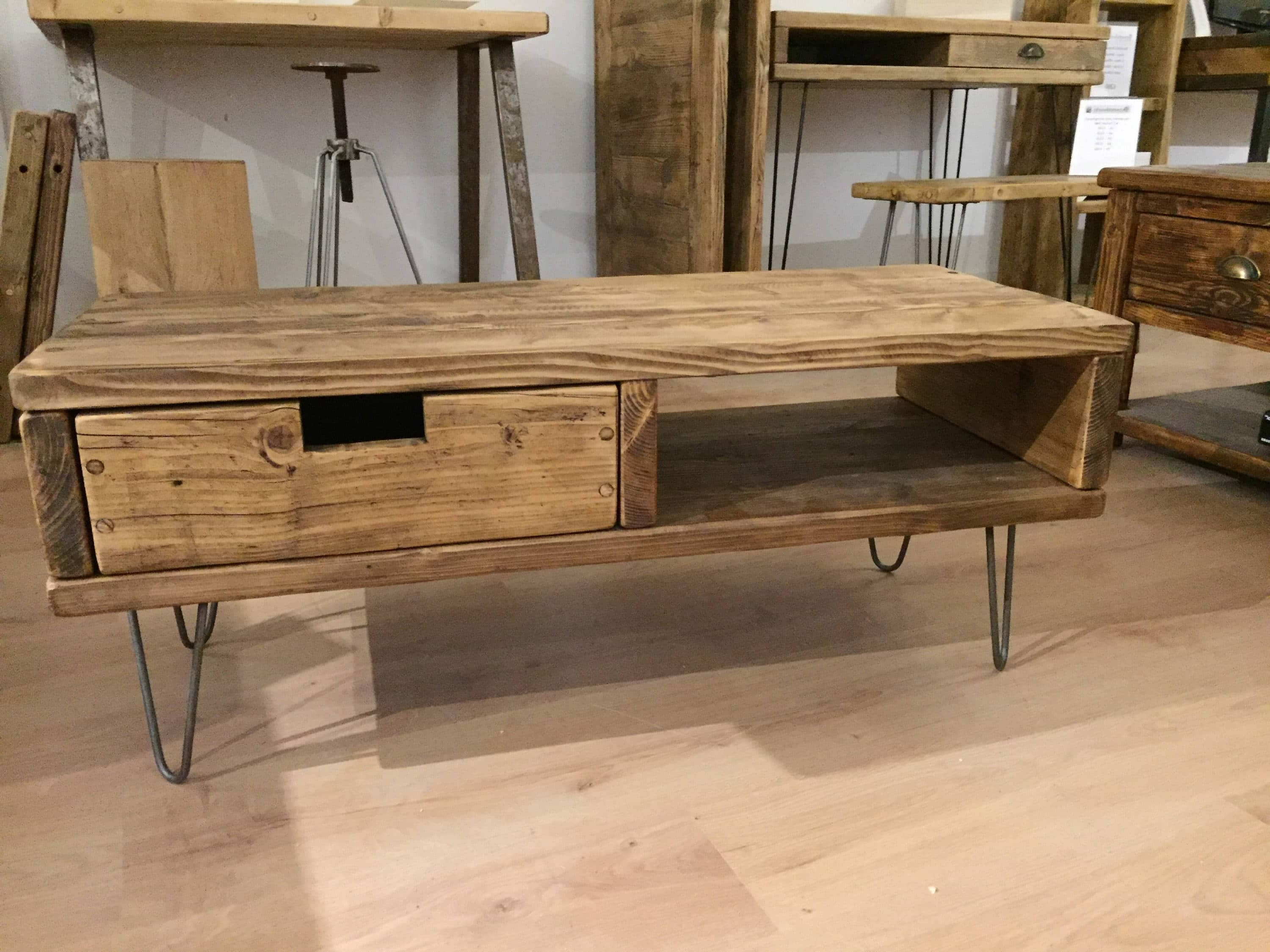 Solid Pine Box Tv Stand With Drawer And Hairpin Legs – Newco Inside Current Hairpin Leg Tv Stands (Gallery 4 of 20)