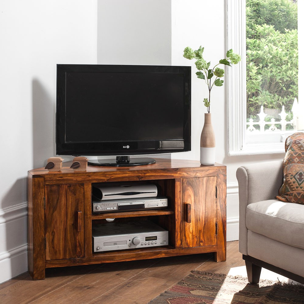 Solid Sheesham Wood Television Stand Corner Tv Unit Casa Bella Avec Throughout Most Popular Tv Cabinets Corner Units (View 15 of 20)