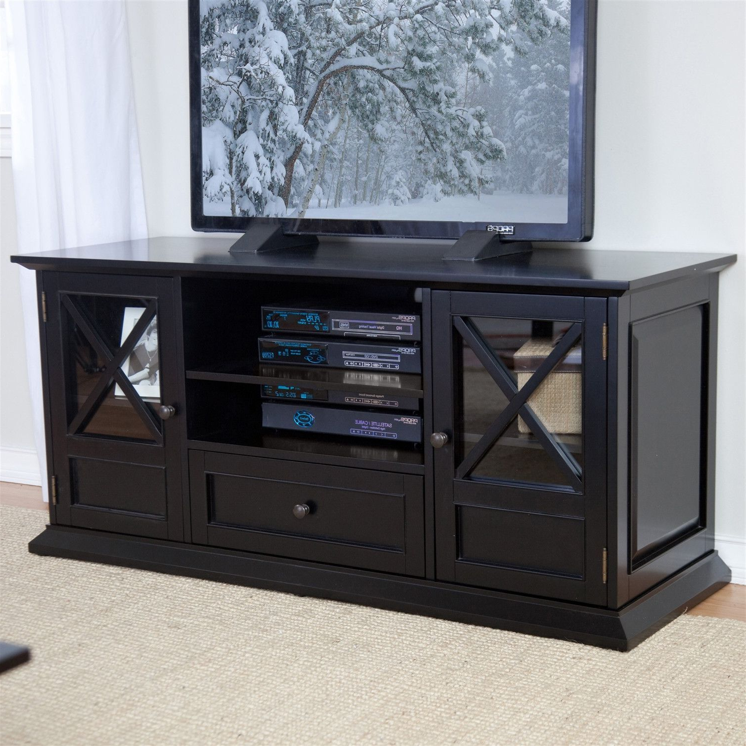Solid Wood Black Tv Stands Pertaining To Well Known 55 Inch Wide Black Tv Stand Entertainment Center With Adjustable (View 16 of 20)