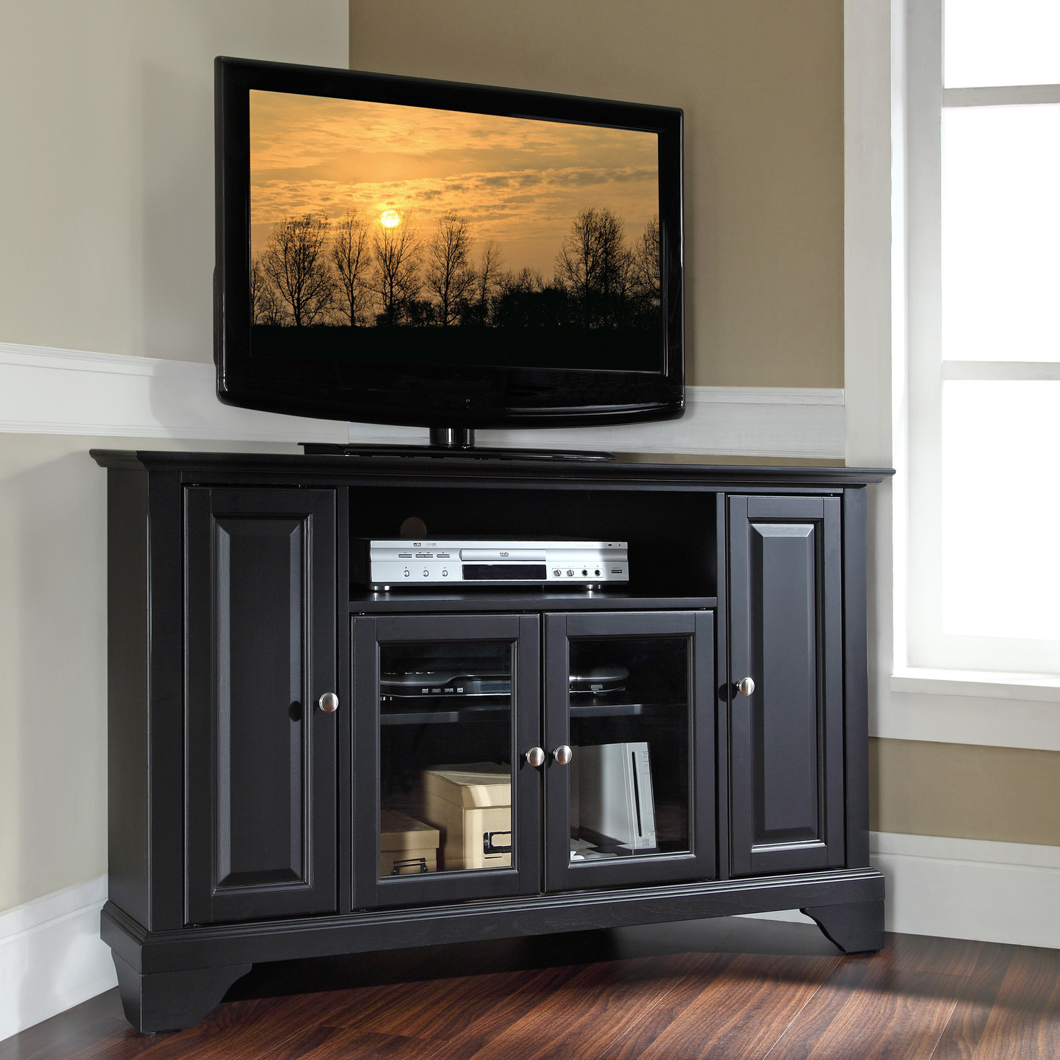 Solid Wood Black Tv Stands Pertaining To Well Liked Tv Stands (View 14 of 20)