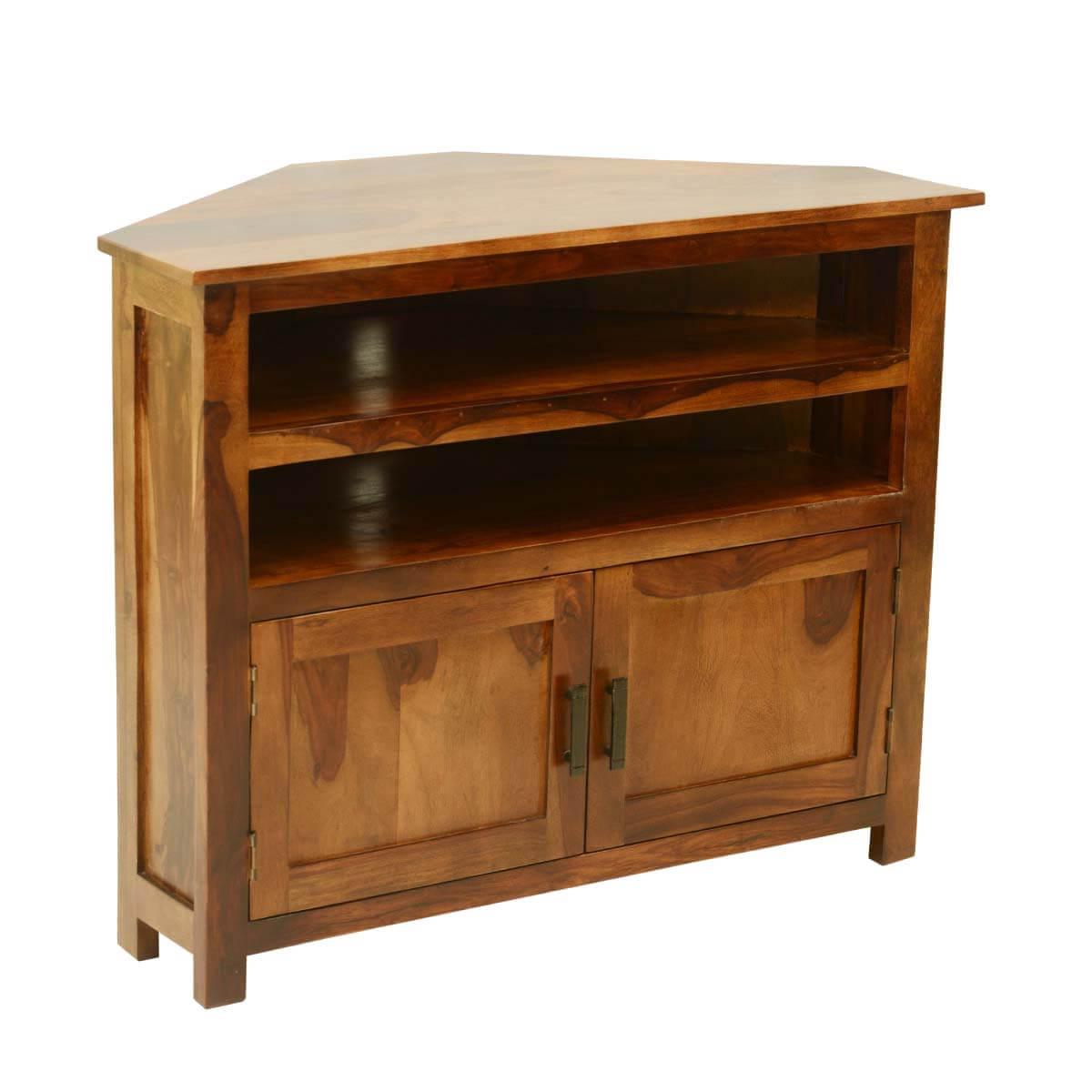 Solid Wood Corner Tv Cabinets Regarding Trendy Farmhouse Solid Wood Corner Tv Media Stand (View 15 of 20)