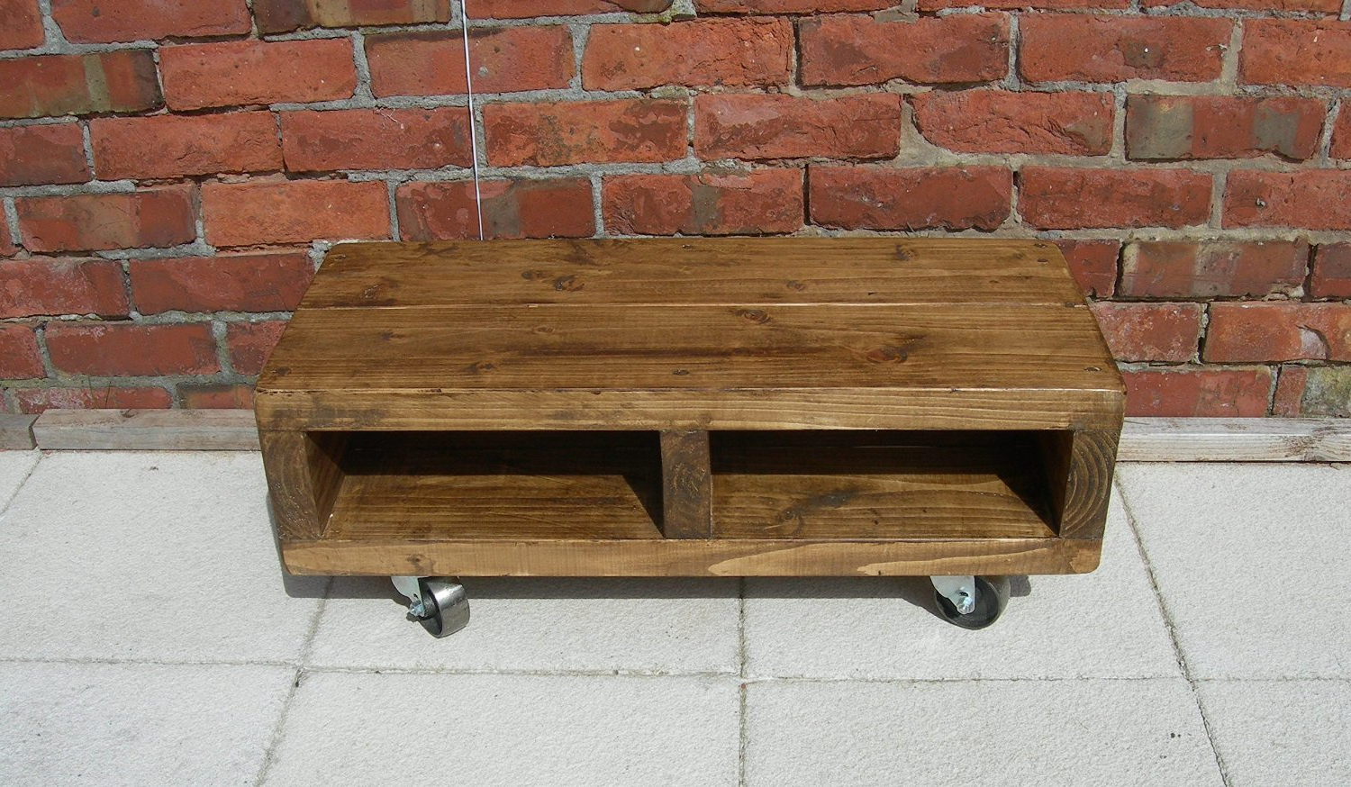 Solid Wood Low Tv Unit With Cast Iron Wheels, 90 Cm Contemporary Pertaining To Latest Wooden Tv Stand With Wheels (Gallery 5 of 20)