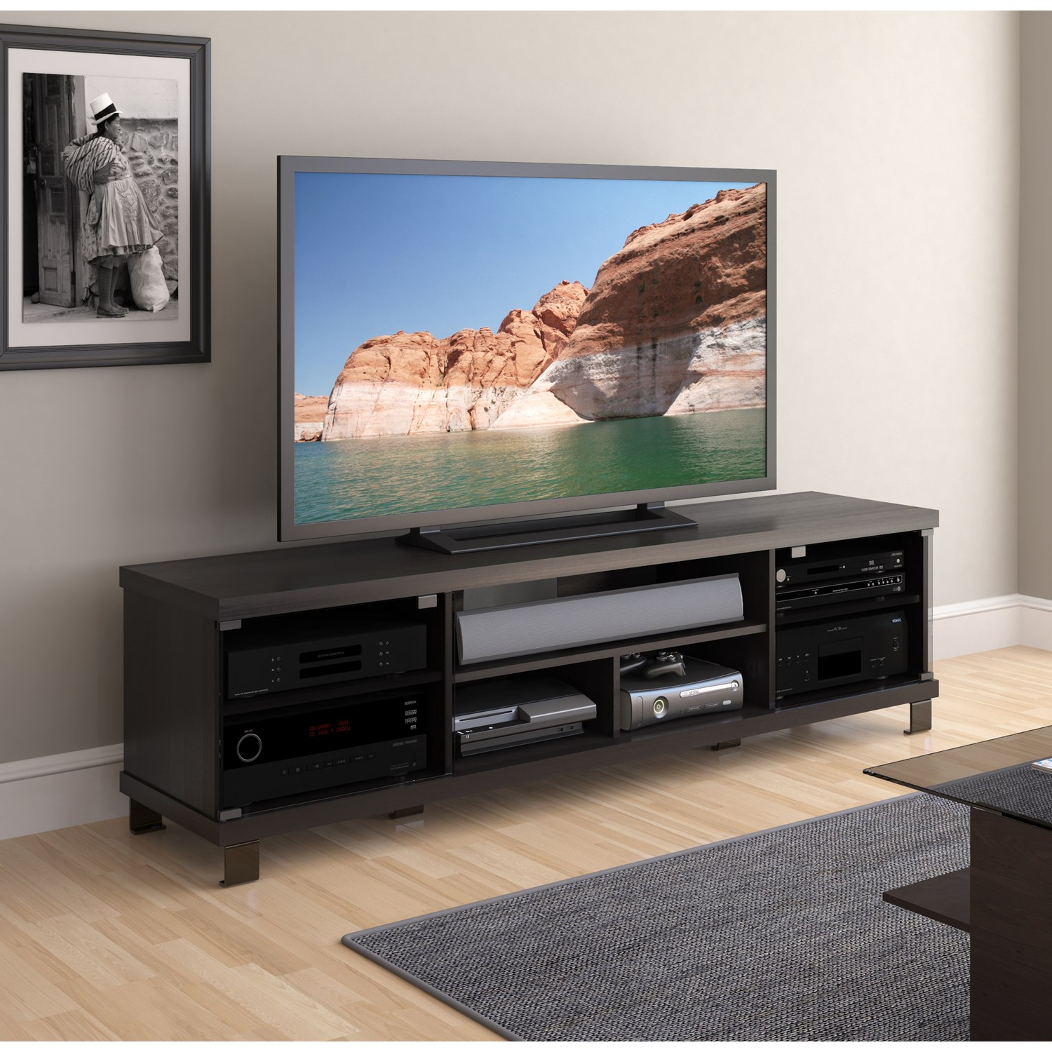 "Sonax B 207 Cht Holland 71"" Extra Wide Tv Stand In Ravenwood Black Throughout Trendy Sonax Tv Stands (Gallery 4 of 20)"