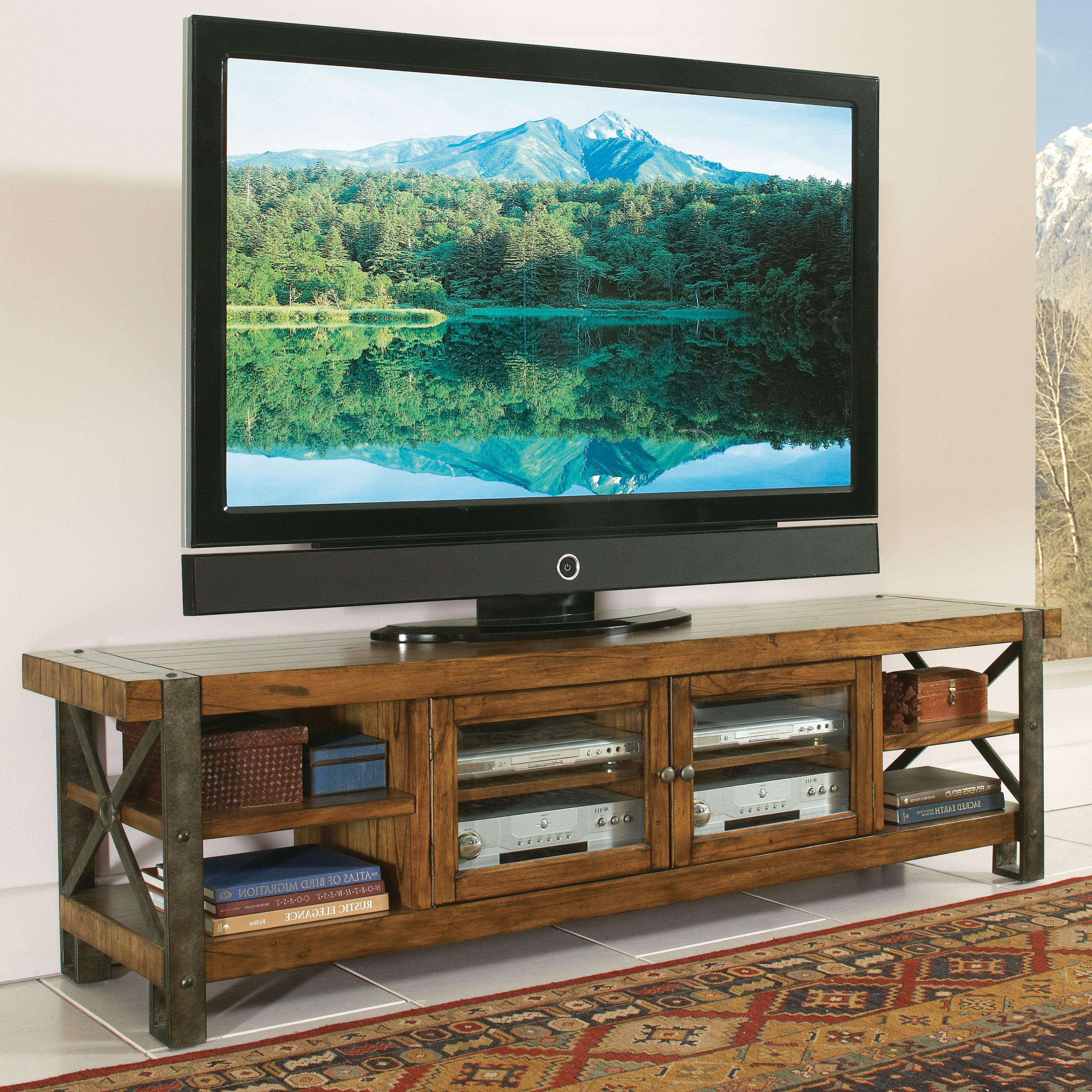Splendid Tv Console Landmark Worn Oak Tv Stands At Hayneedle With Regard To Well Liked Large Oak Tv Stands (View 15 of 20)