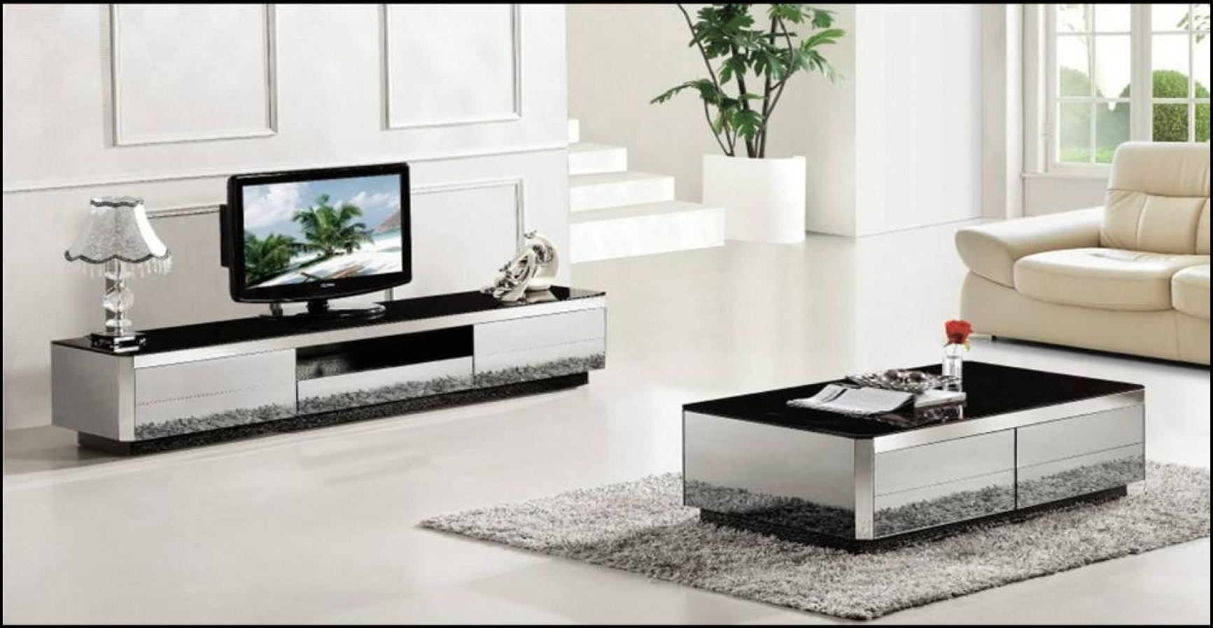 Stand And Coffee Table Set Black Rustic Glass Modern Wood Barn Door For 2018 Tv Cabinets And Coffee Table Sets (View 15 of 20)