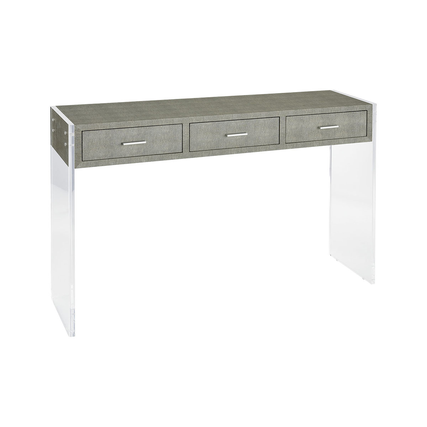 Sterling Industries Monaco Grey Faux Shagreen And Clear Acrylic 48 Within Best And Newest Grey Shagreen Media Console Tables (View 18 of 20)