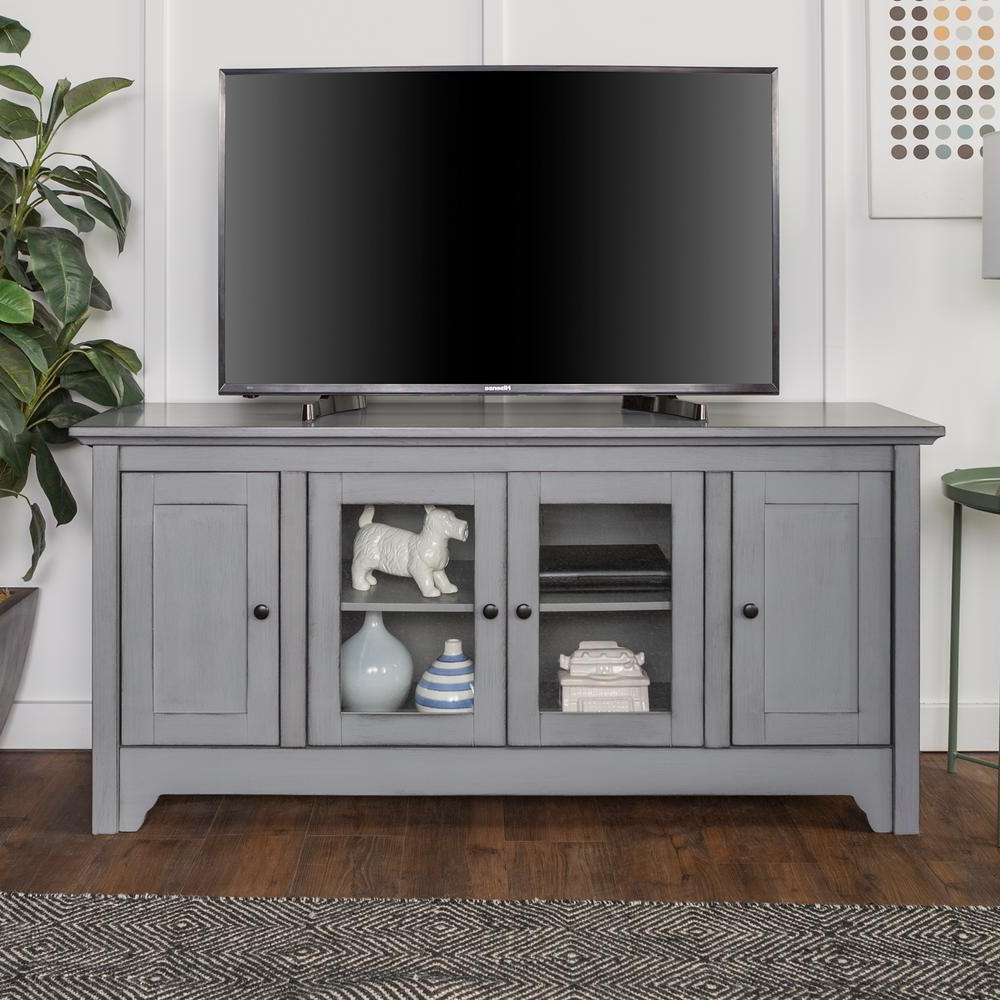 Storage Tv Stands For Well Liked Walker Edison Furniture Company 52 In. Antique Grey Storage Console (Gallery 2 of 20)