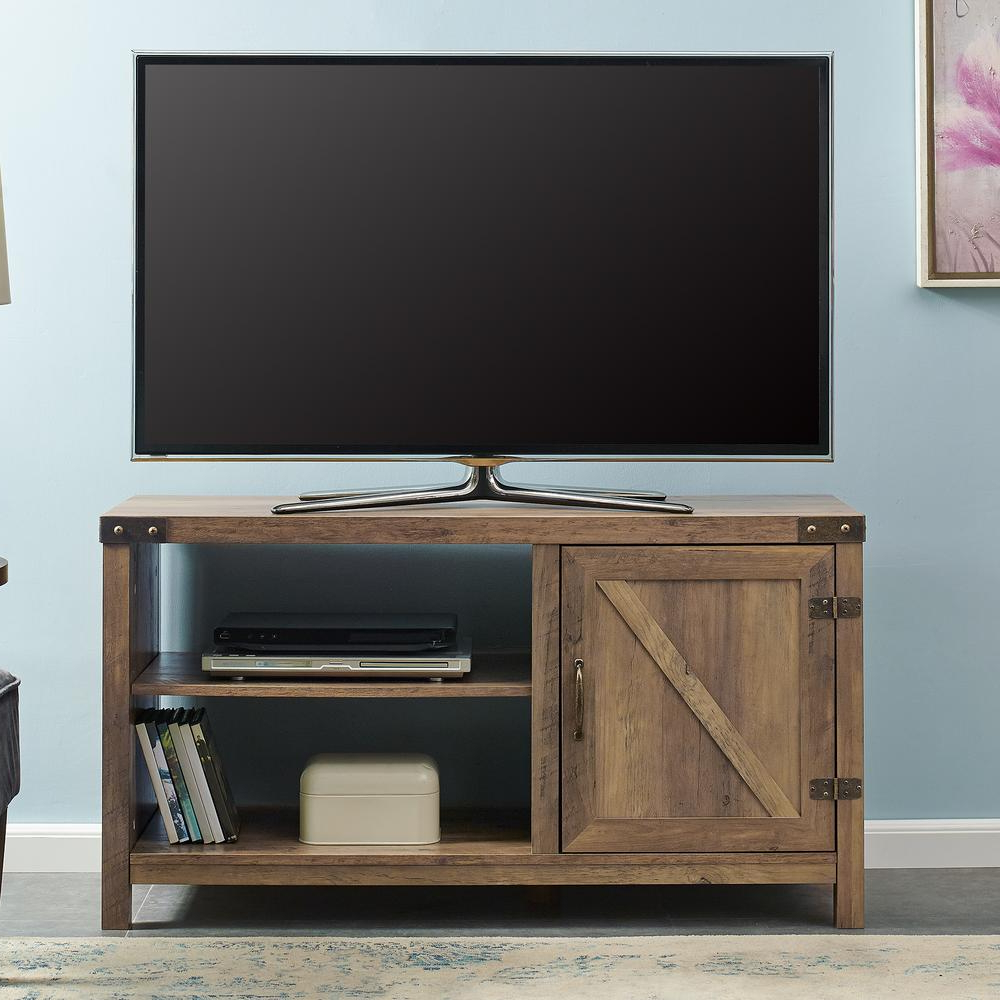 Storage Tv Stands Regarding Most Recently Released Walker Edison Furniture Company 44 In. Rustic Oak Farmhouse Barn (Gallery 17 of 20)