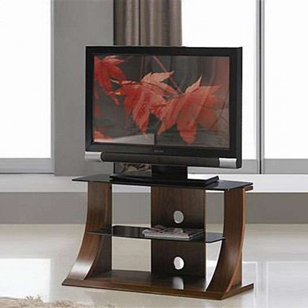 Stylish Tv Cabinets With Regard To Famous Flat Panel Stand Dark Walnut Stylish Black Glass Shelf (View 14 of 20)