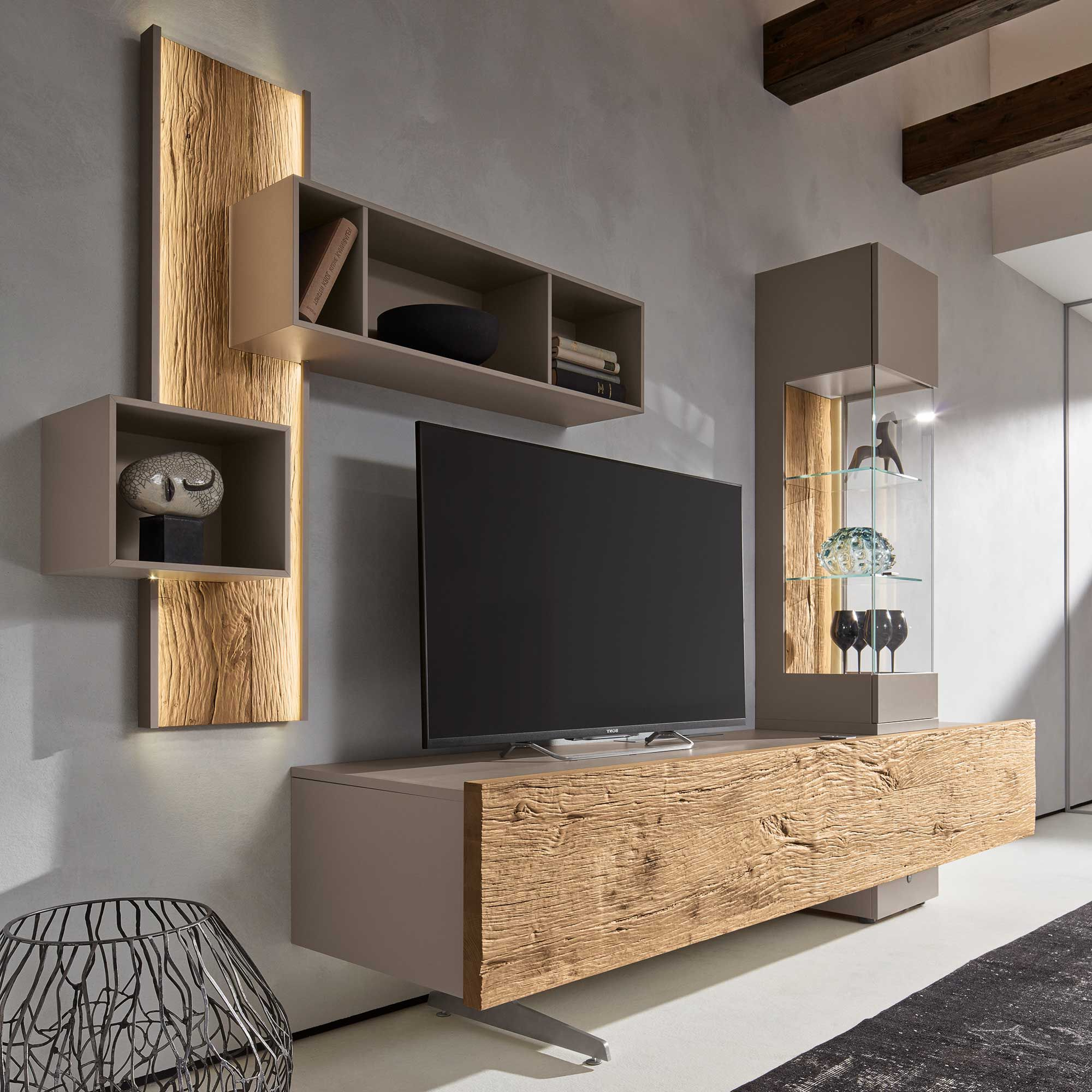 Stylish Tv Cabinets Within Most Recently Released Bohle Combination Tv Wall Unit, Natural Oak & Glass (View 3 of 20)