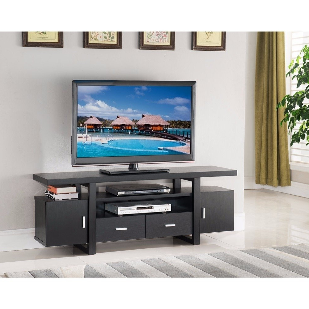 Stylish Tv Stands Inside Most Up To Date Shop Stylish Tv Stand With Utility Storage, Black – Free Shipping (View 12 of 20)