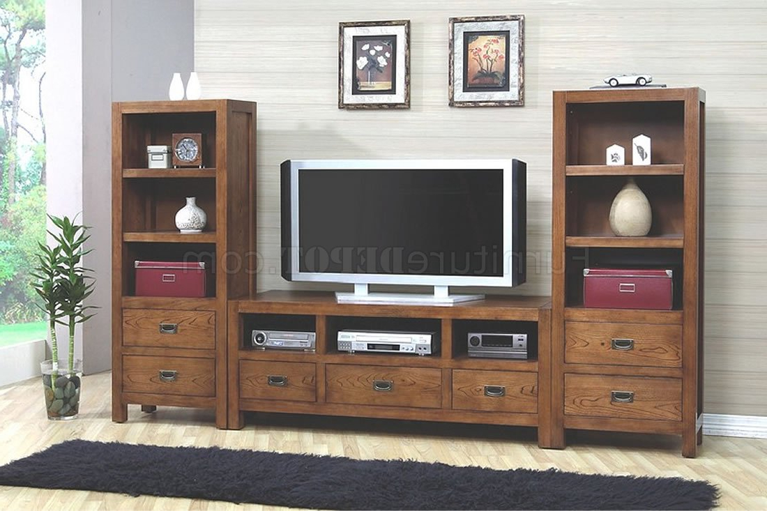 Stylish Tv Stands With Regard To Current Walnut Finish Stylish Tv Stand W/optional Media Towers (View 14 of 20)