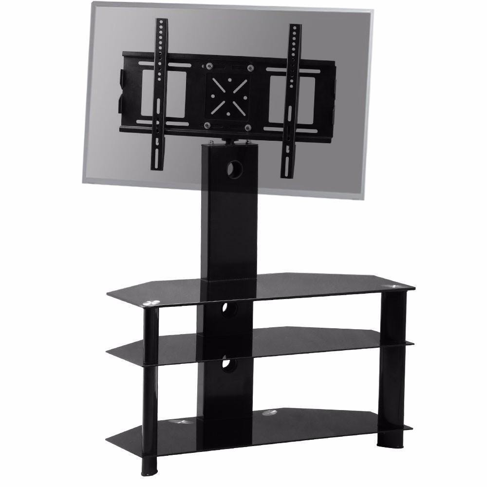 Swivel Black Glass Tv Stands Regarding Most Current Chinkyboo Large Swivel Tv Stand Mount Bracket 3 Tier Black Glass (Gallery 19 of 20)