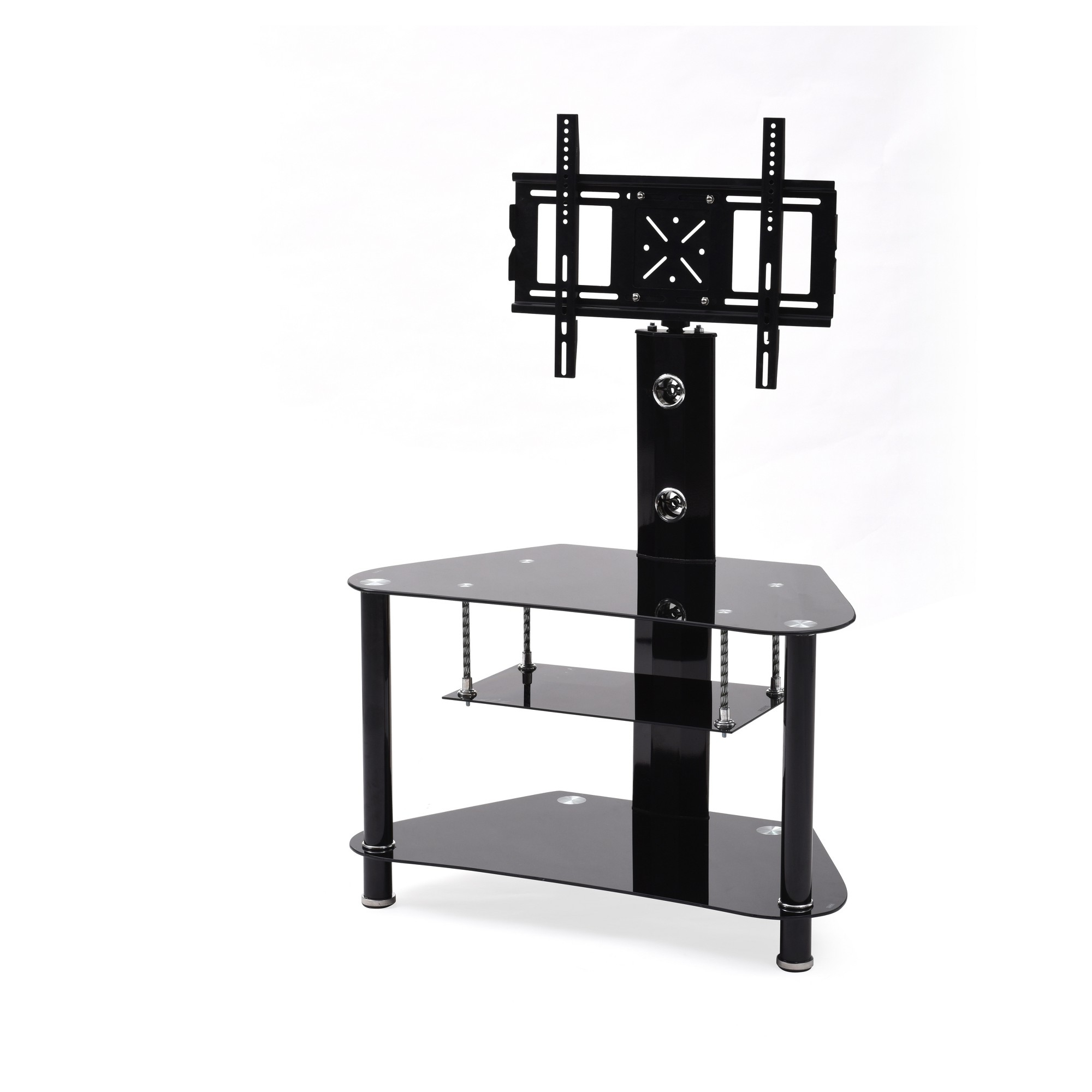 Swivel Black Glass Tv Stands Throughout Preferred 3 Shelf Glass Tv Stand With Swiveling Mount Black 36 – Hodedah (Gallery 10 of 20)