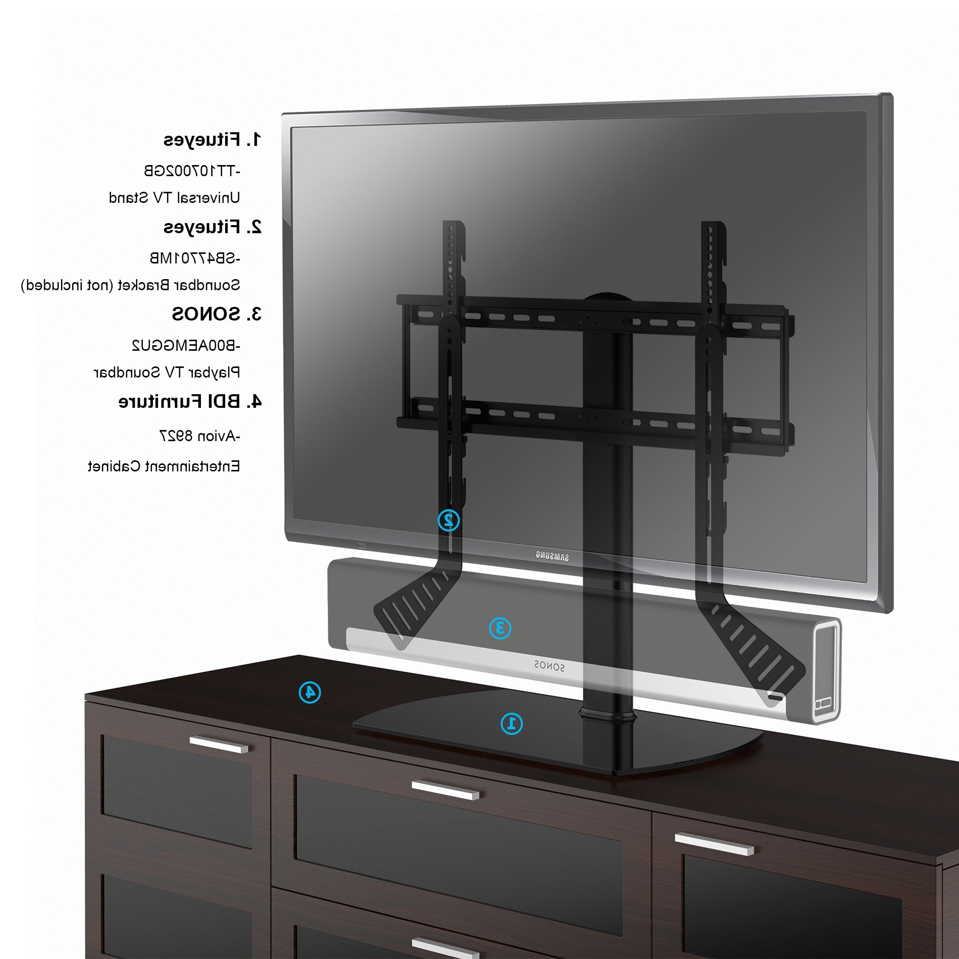 Tabletop Tv Stands Within Well Known Shop Fitueyes Universal Tv Stand /base Swivel Tabletop Tv Stand With (View 13 of 20)