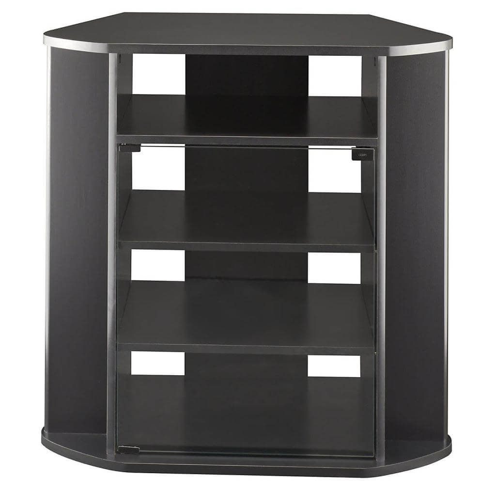 Tall Tv Stands For Flat Screen Intended For Best And Newest Furniture: Interesting Black Curved Corner Tall Tv Stand For Flat (View 20 of 20)