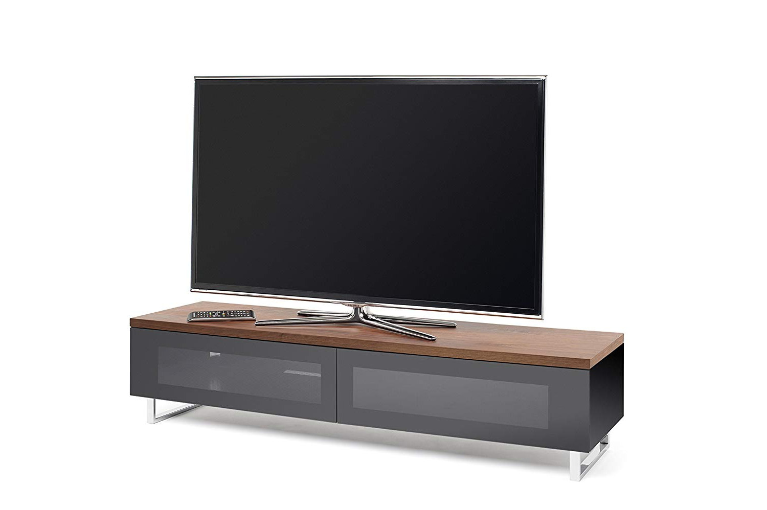 Techlink Panorama 160 Pm160w High Gloss Black Base With Walnut Top Pertaining To Fashionable Techlink Panorama Walnut Tv Stands (View 13 of 20)