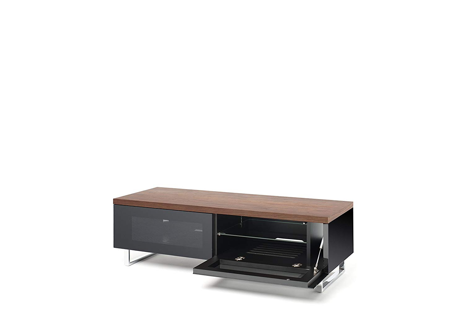 Techlink Panorama Walnut Tv Stands Intended For Preferred Techlink Panorama 120 Pm120w High Gloss Black Base With Walnut Top (View 10 of 20)