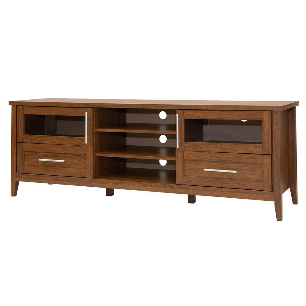 Techni Mobili Modern Oak Tv Stand With Storage For Tv's Up To 75 In Intended For Widely Used Hardwood Tv Stands (View 13 of 20)