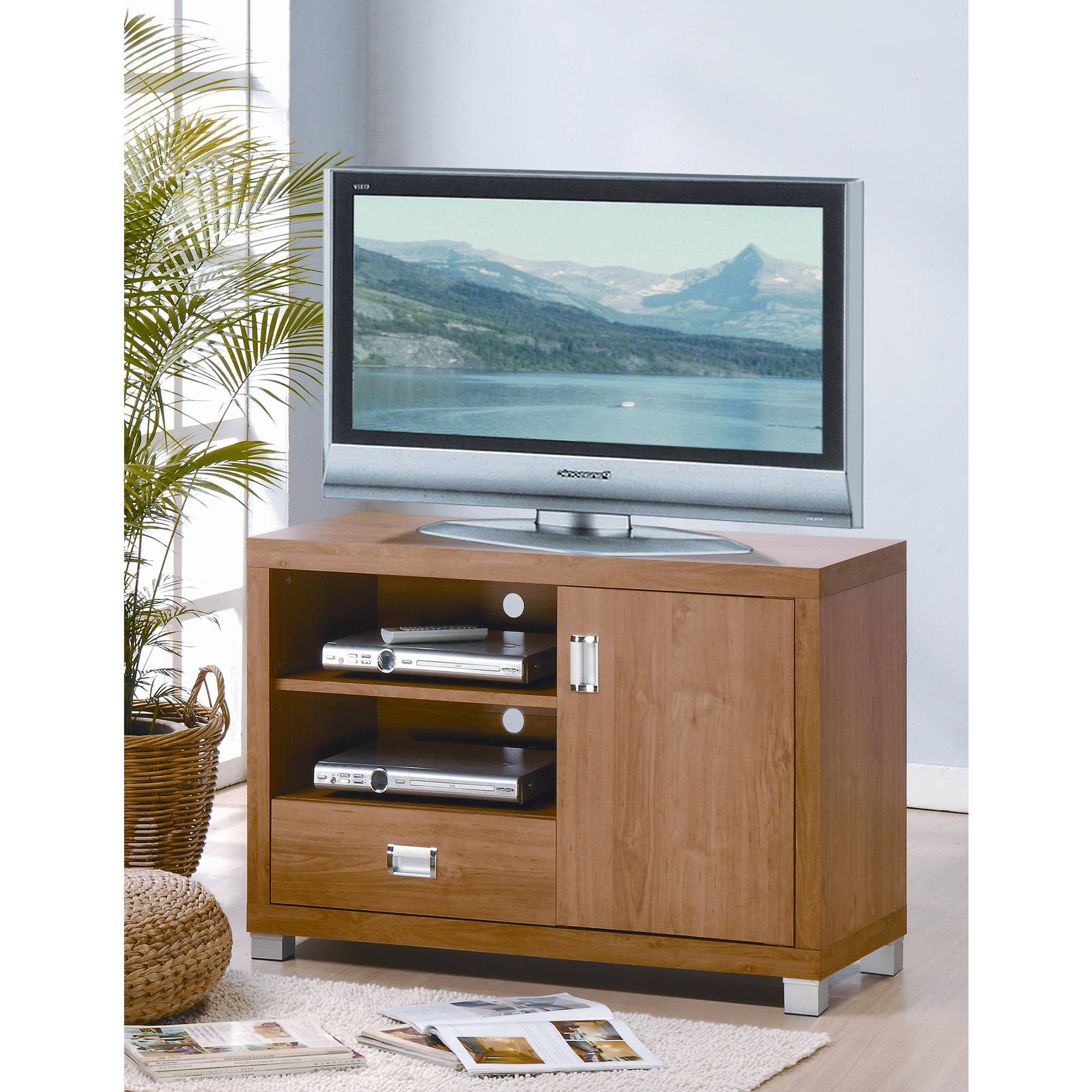 "Techni Mobili Tv Stand For Tvs Up To 38"" With Storage, Maple (rta Within Fashionable Tv Cabinets With Storage (View 9 of 20)"