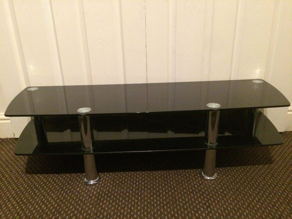 Telly Tv Stands With Regard To Current Tv Stand Large Black Glass, High Quality, 2 Shelves, Suitable Upto (View 13 of 20)