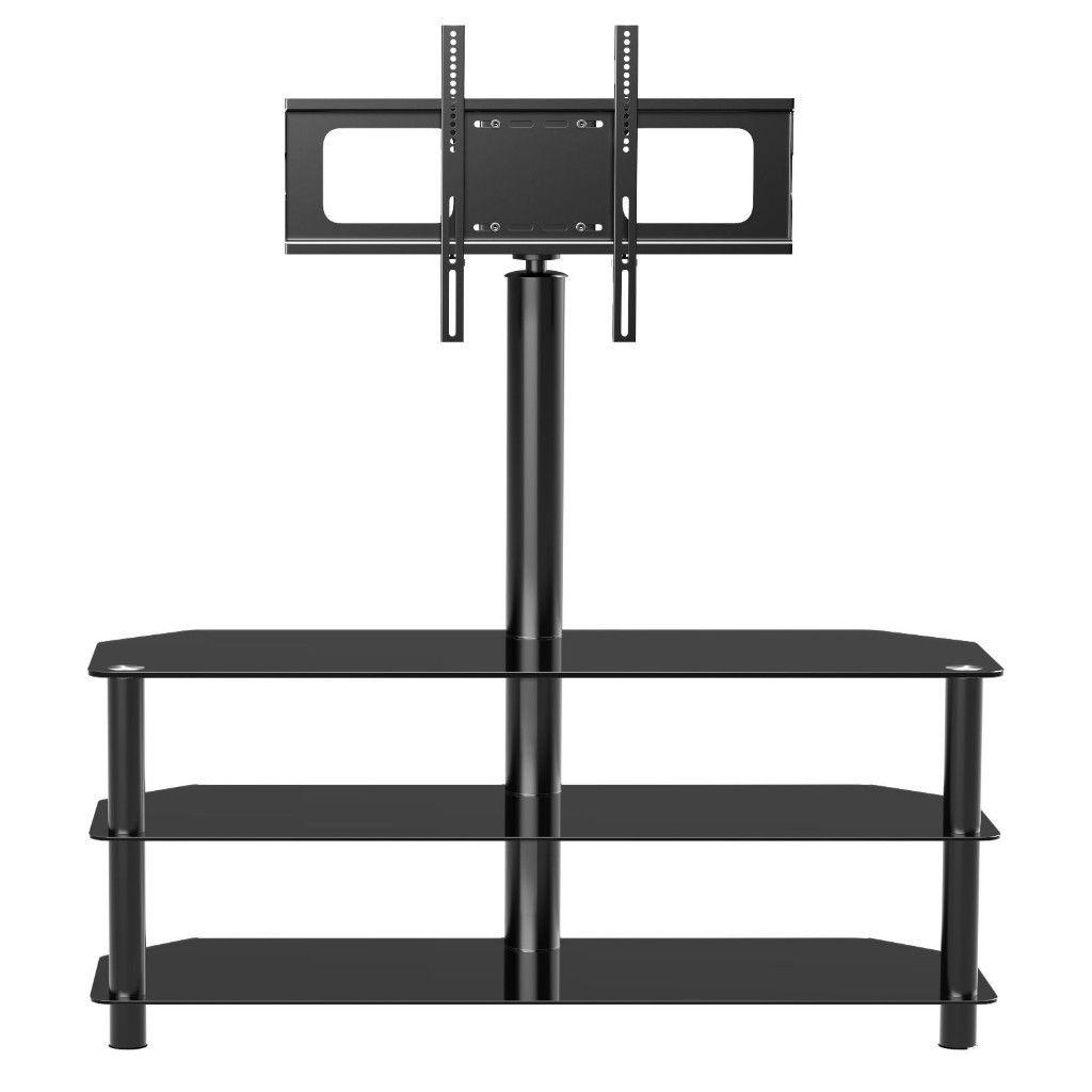 "Tempered Glass Tv Stand With Swivel Wall Bracket 32 55"" Plasma Lcd With Most Recently Released Swivel Black Glass Tv Stands (View 18 of 20)"