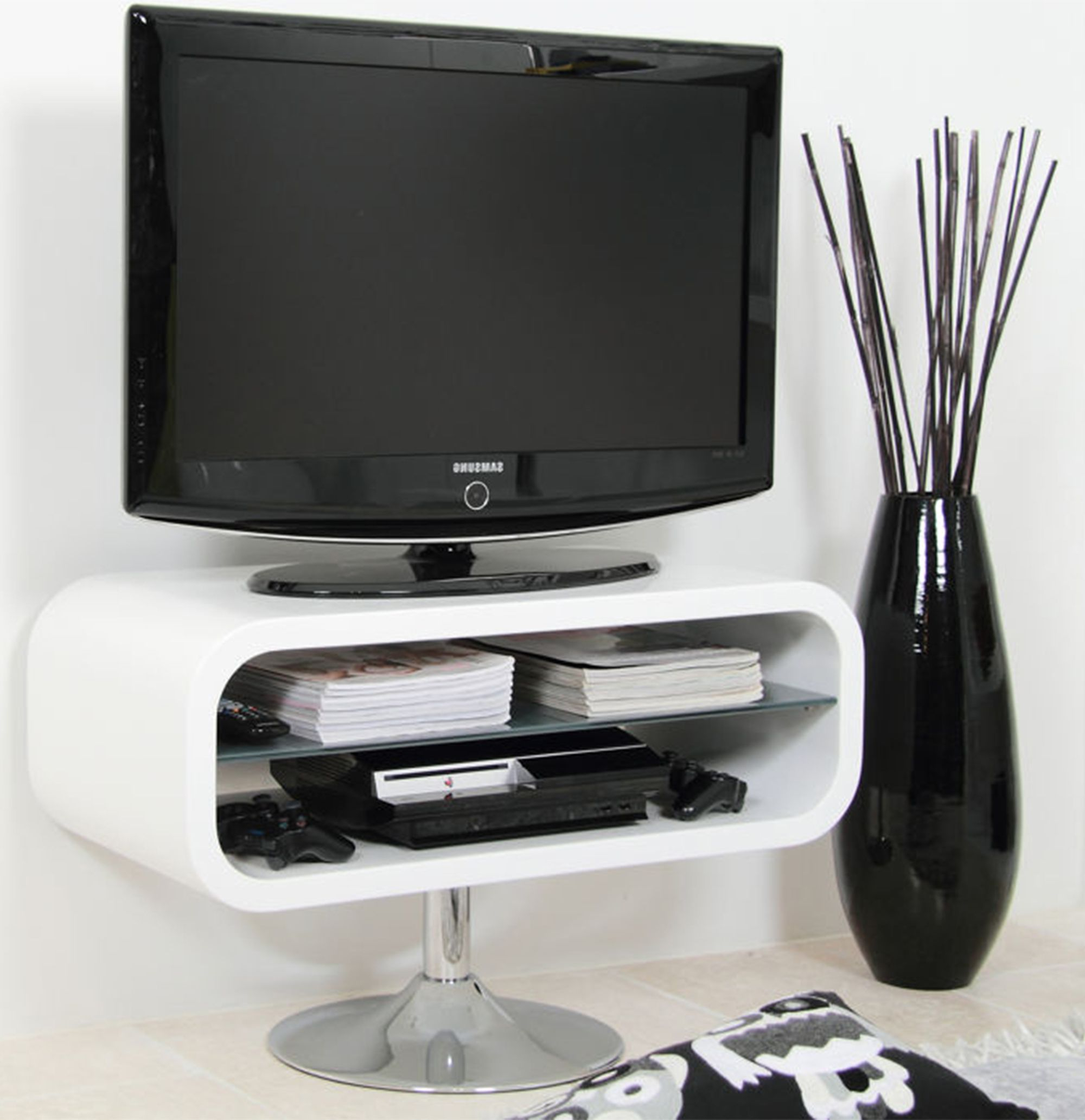 The Glass Shelf Of The Petra Tv Stand Creates A Very Modern Space Inside Most Recent Funky Tv Stands (View 16 of 20)