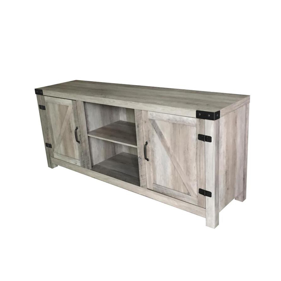 Traditional Tv Cabinets Throughout Most Recently Released Homenations Washed Gray Tv Cabinet At Lowes (View 20 of 20)