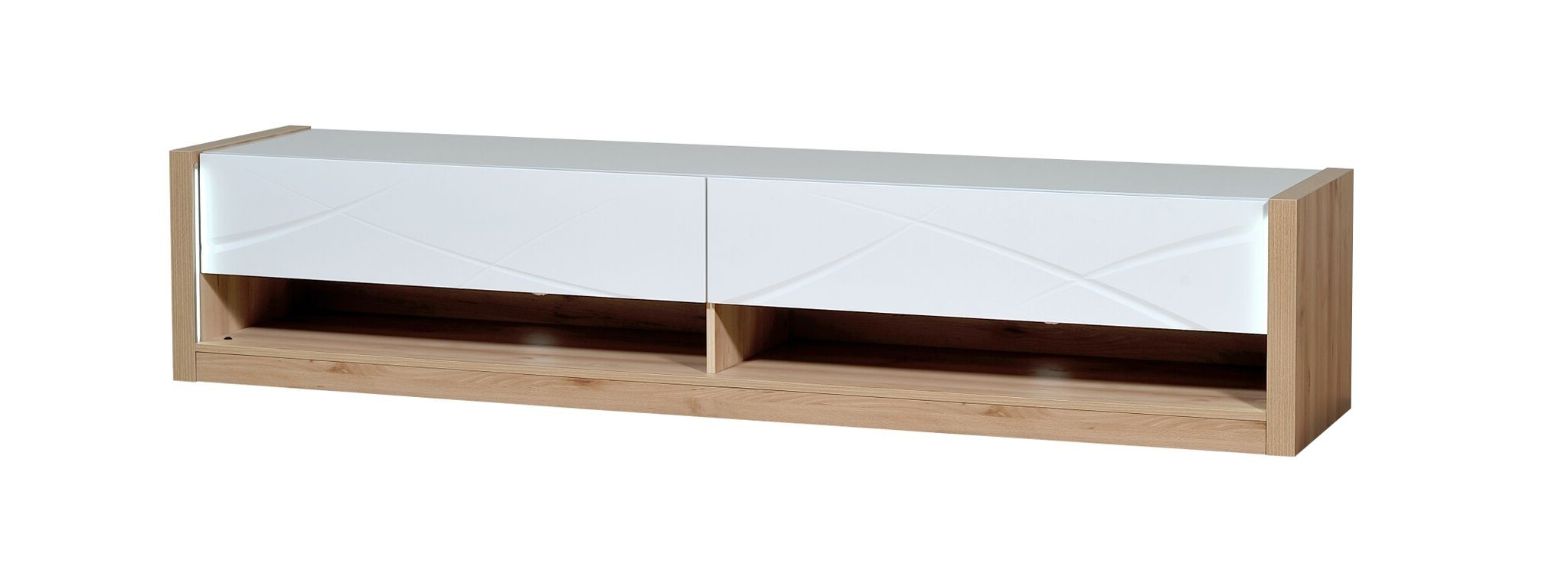 Trendy 150Cm Tv Units In Jasper White Gloss And Oak Wood Tv Unit (View 20 of 20)