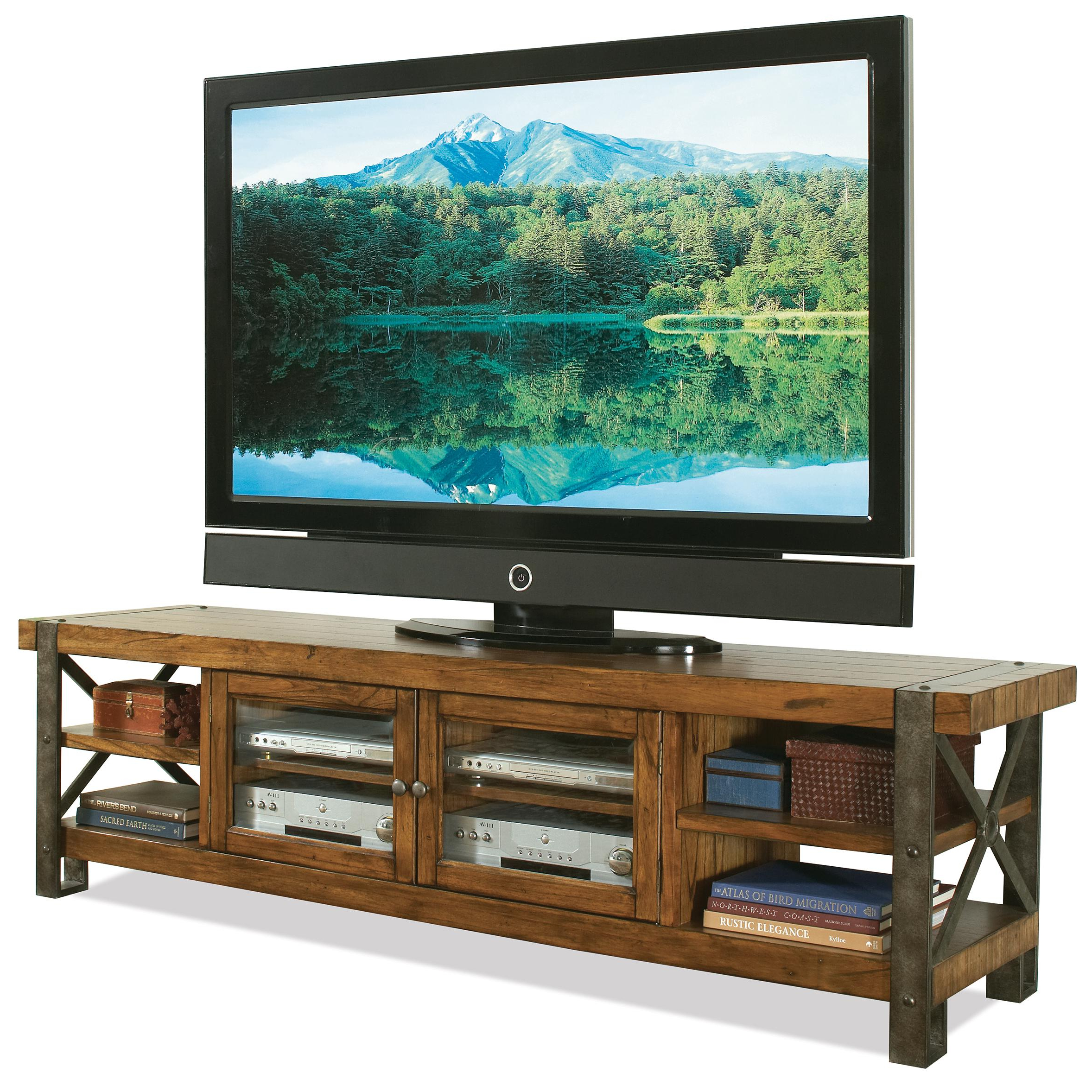 Trendy 80 Inch Tv Stands Intended For Riverside Furniture Sierra 3442 Rustic 80 In Tv Console W/ Glass (View 18 of 20)