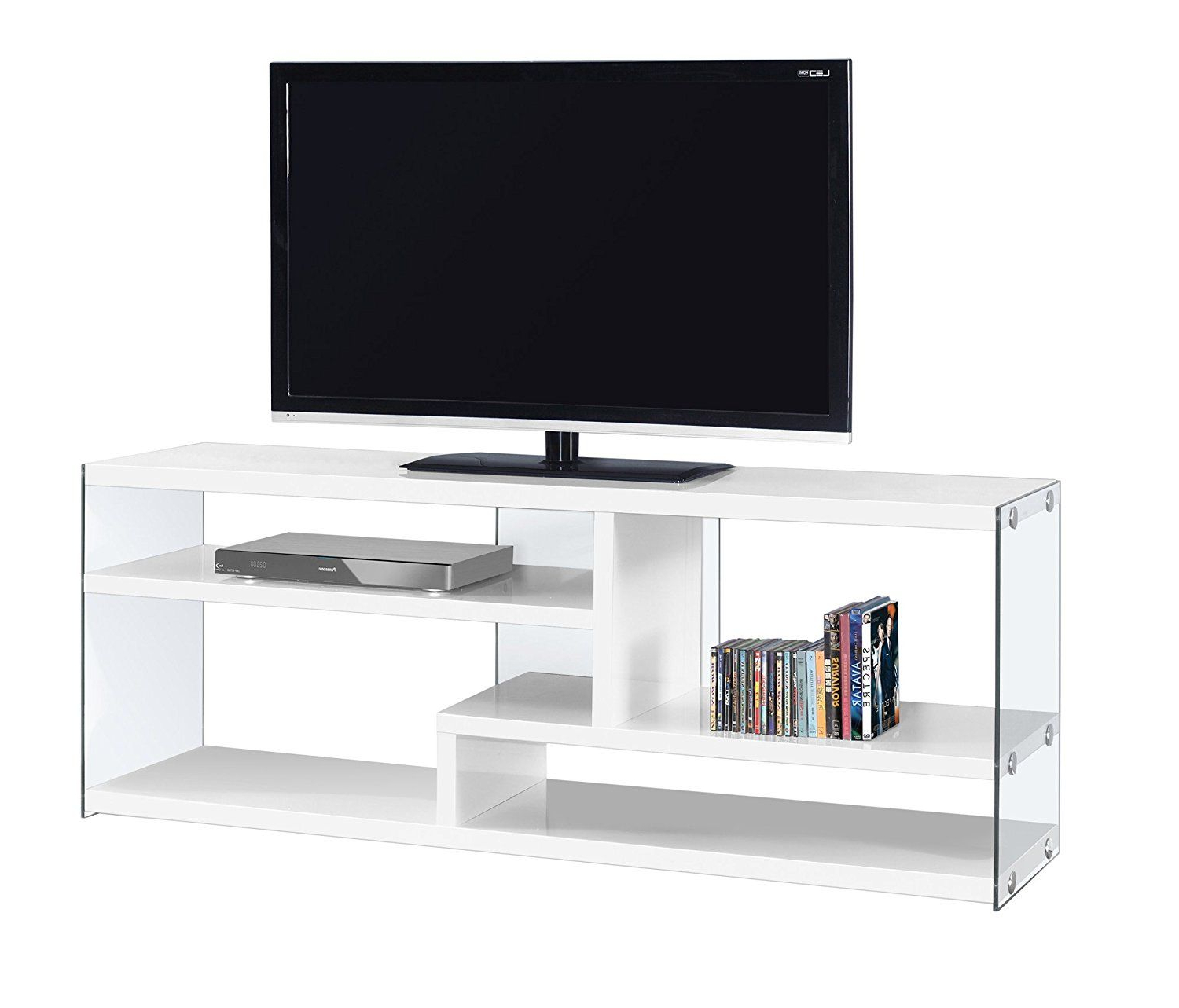 Trendy Amazon: Monarch Specialties I 2690 Glossy White With Tempered Inside Glass Tv Cabinets (View 17 of 20)