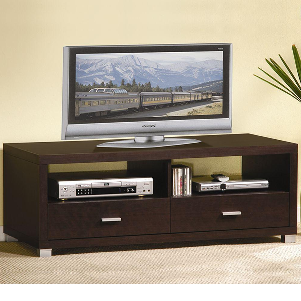 Trendy Baxton Studio Tv Cabinet Table Wales Stand Espresso At Home With With Regard To Dixon White 58 Inch Tv Stands (View 20 of 20)