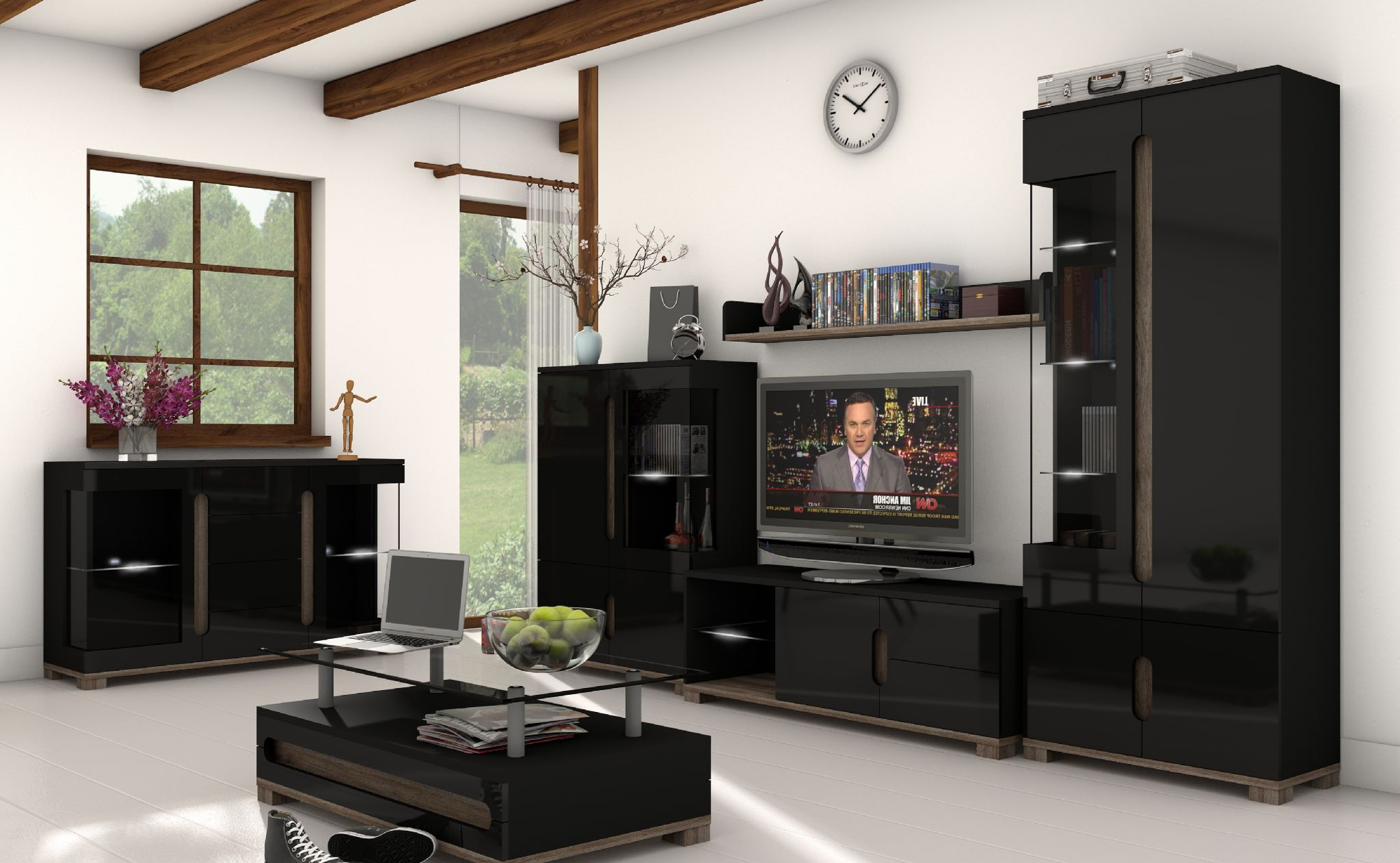 Trendy Black Tv Cabinets With Doors In Lorenz Black High Gloss Tv Cabinet With Lights – Wow (View 19 of 20)