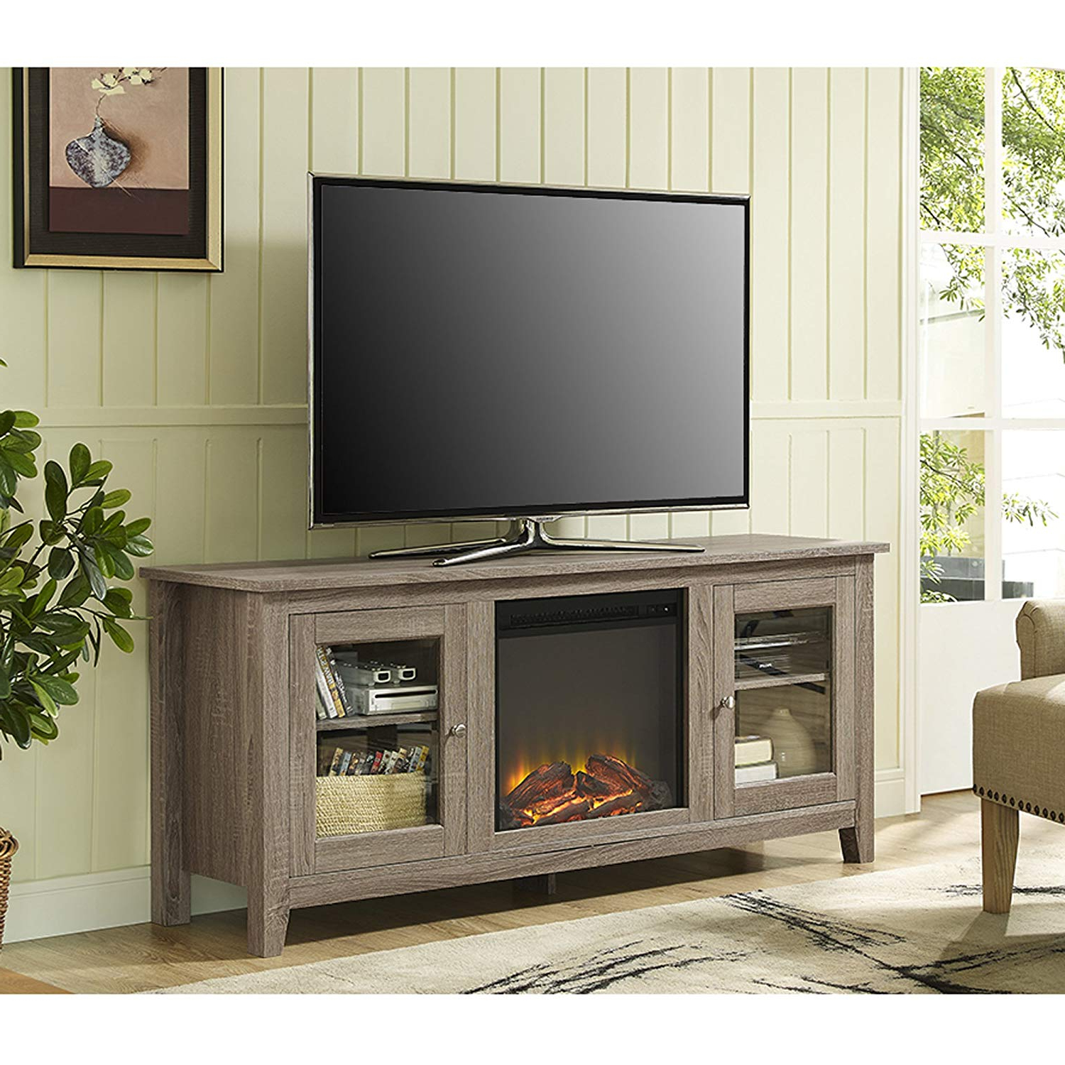 "Trendy Casey Grey 66 Inch Tv Stands In Amazon: We Furniture 58"" Wood Fireplace Tv Stand Console (View 17 of 20)"