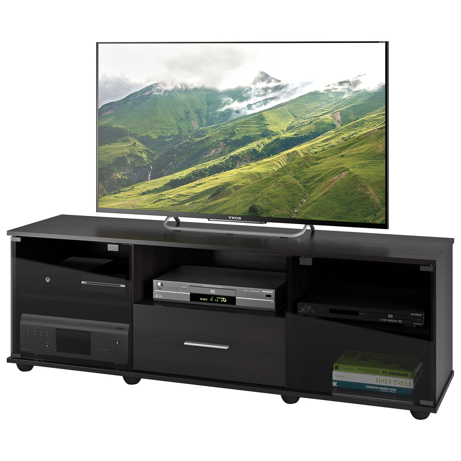 """Trendy Corliving Fernbrook 70"""" Tv Stand – Black : Tv Stands – Best Buy Canada Within Valencia 70 Inch Tv Stands (View 11 of 20)"""