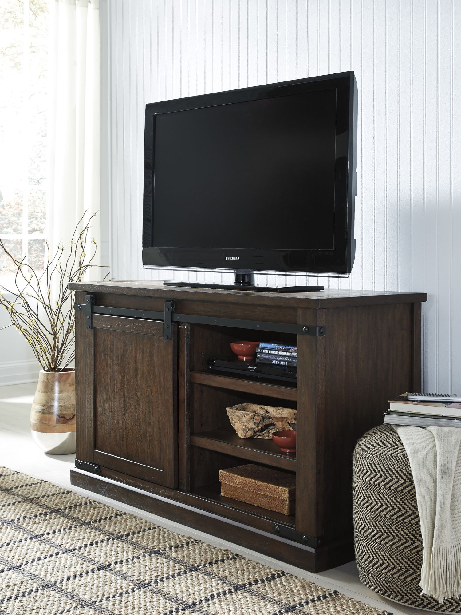 Trendy Country Style Tv Stands With Regard To W562 28 Budmore Console/tv Stand – Homebasics (View 18 of 20)