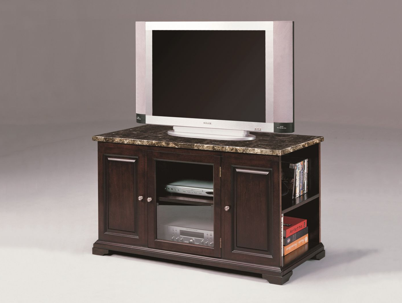 Trendy Draper 62 Inch Tv Stands Intended For Harris Small Marble Espresso Console – Plasma (View 15 of 20)