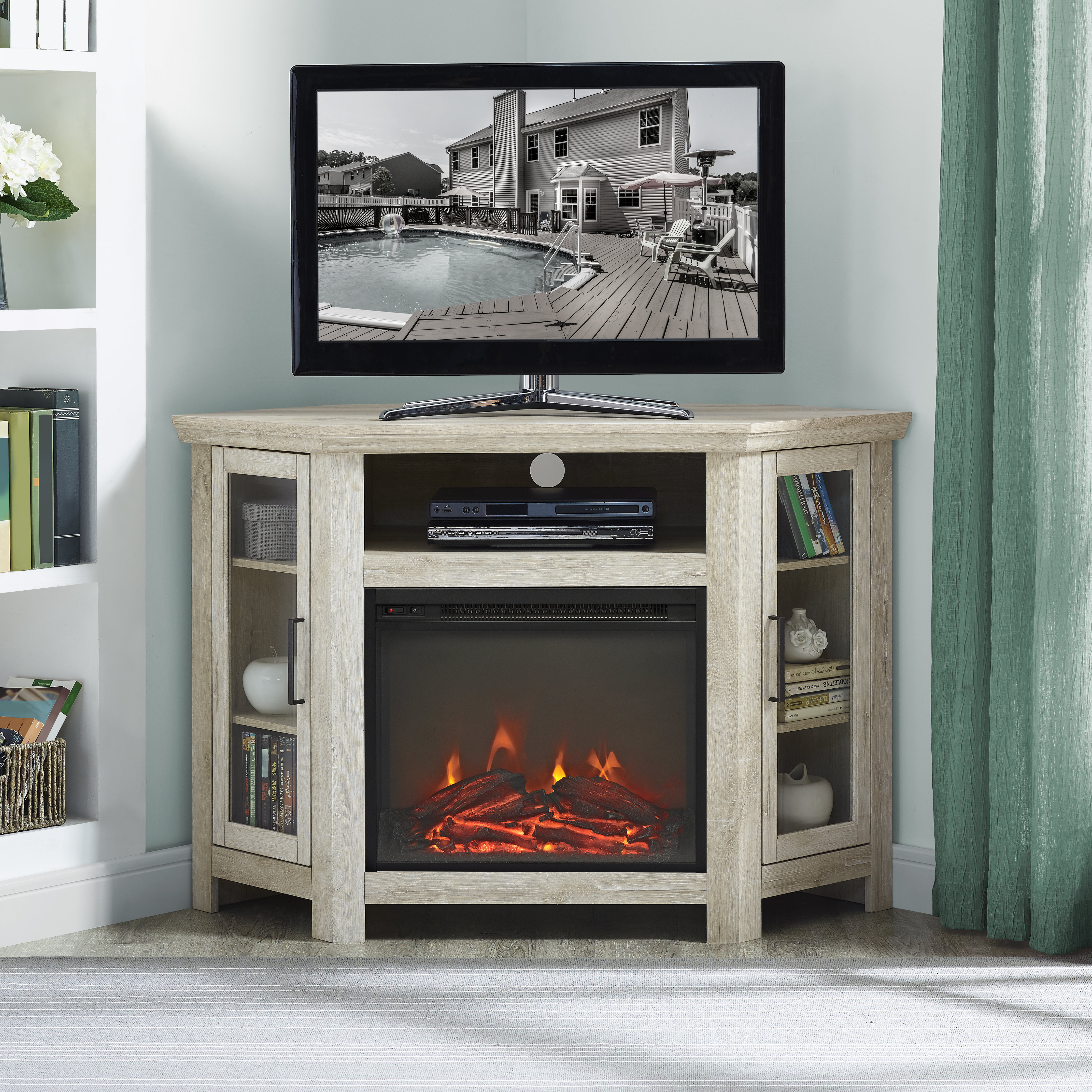 Trendy Glass Tv Cabinets With Doors Inside Corner Tv Stands You'll Love (View 16 of 20)